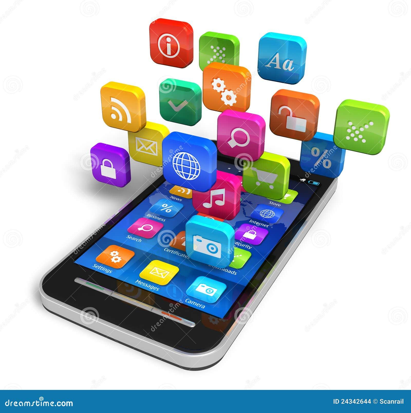 Smartphone con la nube de los iconos de la aplicación