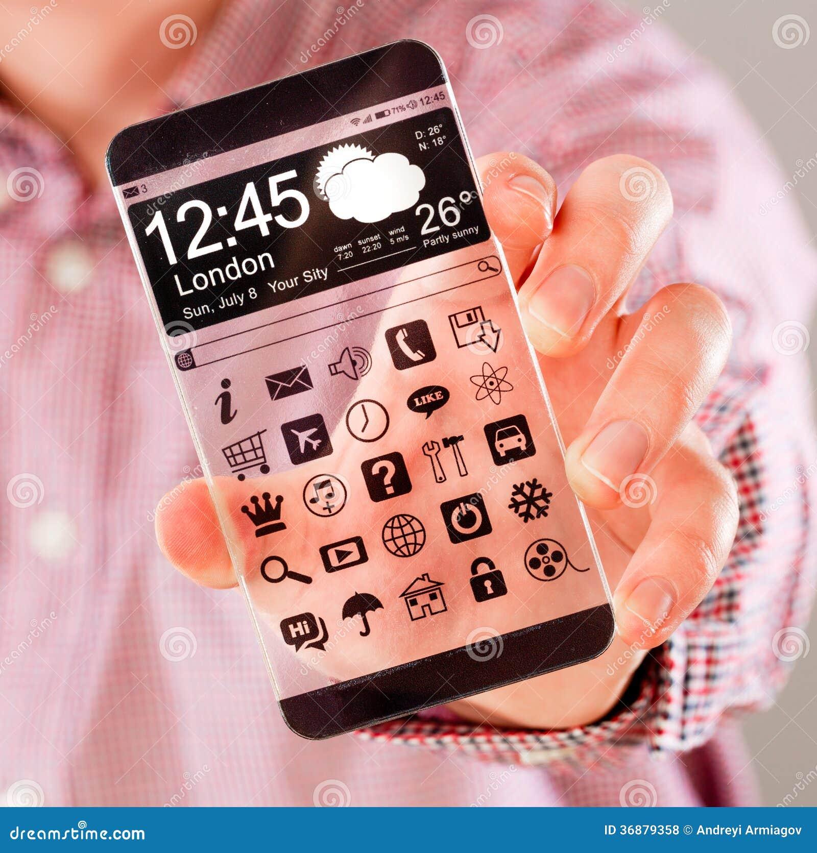 Download Smartphone Con Lo Schermo Trasparente In Mani Umane. Illustrazione di Stock - Illustrazione di collegamento, idee: 36879358
