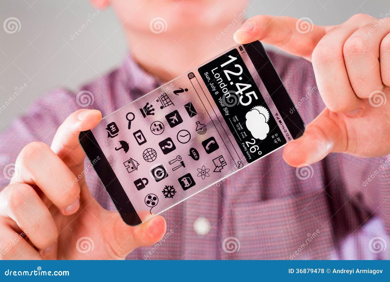 Download Smartphone Con Lo Schermo Trasparente In Mani Umane. Illustrazione di Stock - Illustrazione di contatto, mobile: 36879478