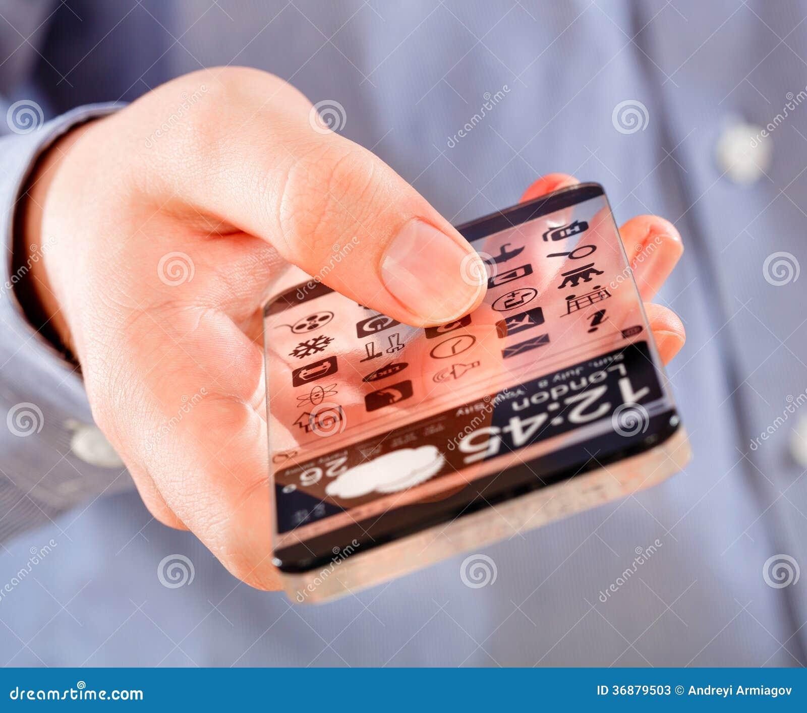 Download Smartphone Con Lo Schermo Trasparente In Mani Umane. Illustrazione di Stock - Illustrazione di visualizzazione, tasto: 36879503