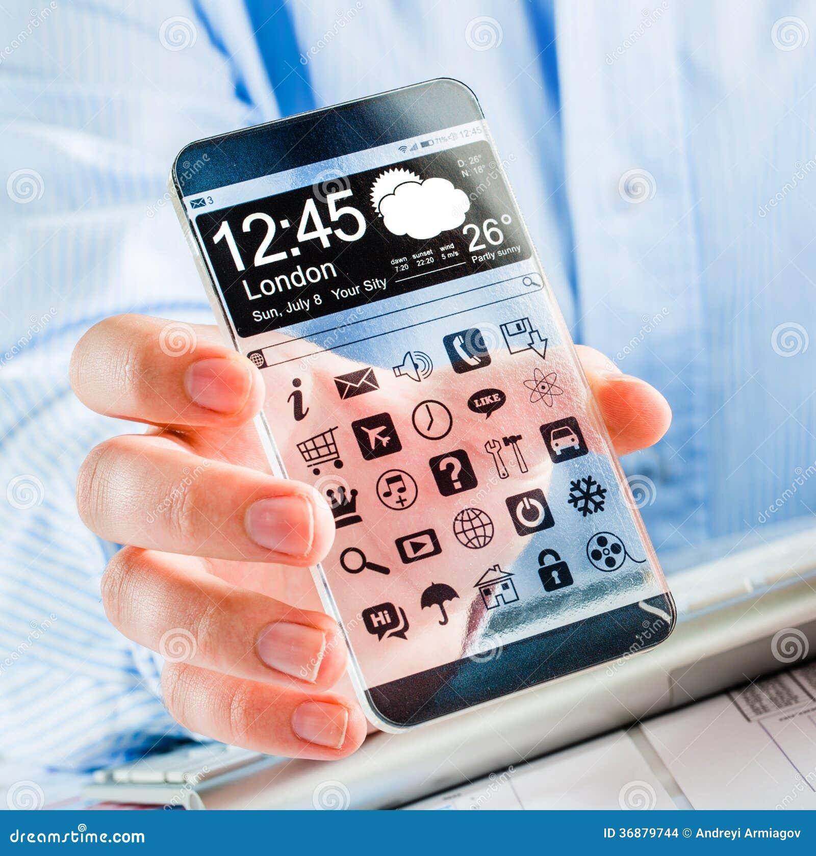 Download Smartphone Con Lo Schermo Trasparente In Mani Umane. Illustrazione di Stock - Illustrazione di icone, futuristico: 36879744