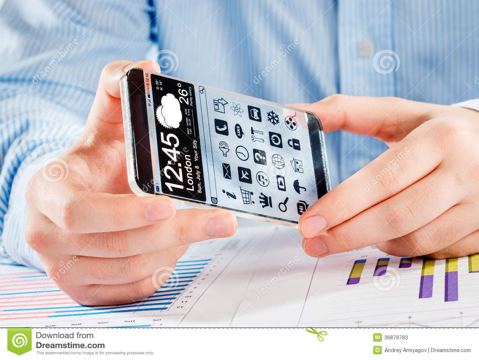 Download Smartphone Con Lo Schermo Trasparente In Mani Umane. Illustrazione di Stock - Illustrazione di comunicazione, futuro: 36879783