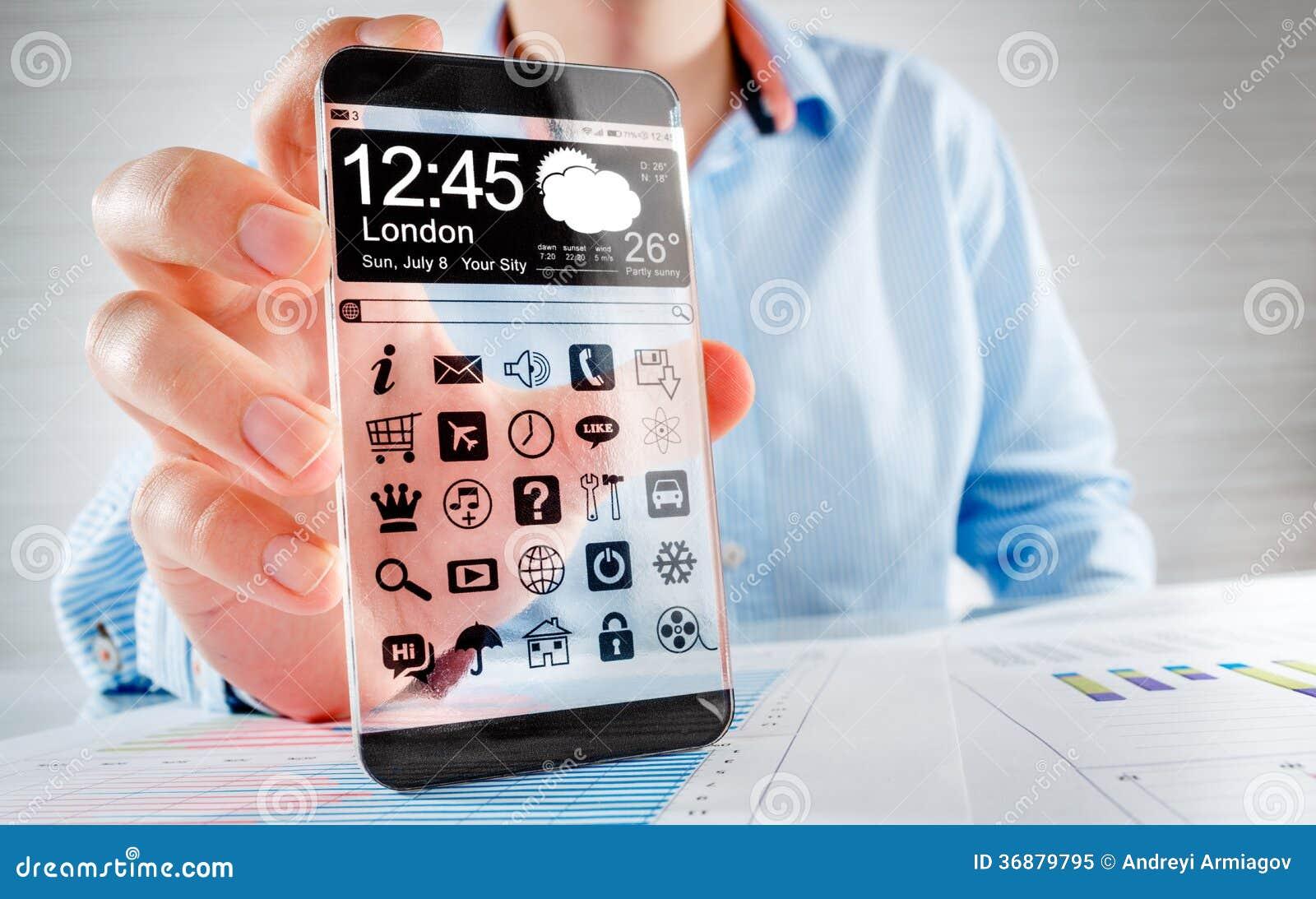 Download Smartphone Con Lo Schermo Trasparente In Mani Umane. Illustrazione di Stock - Illustrazione di ufficio, estratto: 36879795
