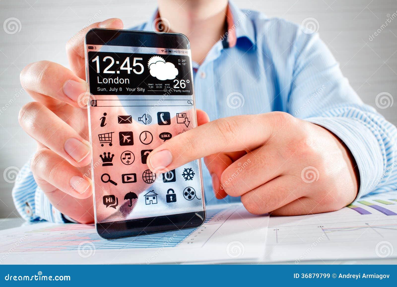 Download Smartphone Con Lo Schermo Trasparente In Mani Umane. Illustrazione di Stock - Illustrazione di estratto, mano: 36879799