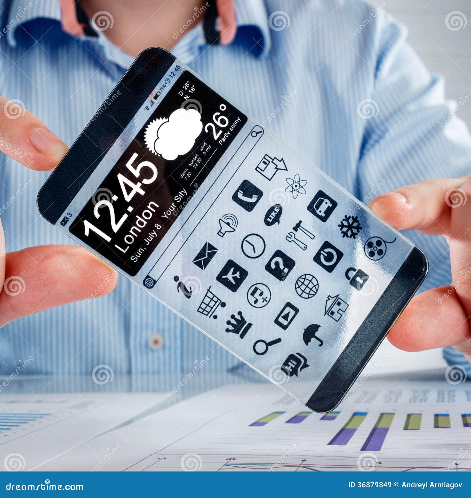 Download Smartphone Con Lo Schermo Trasparente In Mani Umane. Illustrazione di Stock - Illustrazione di concetto, disegno: 36879849