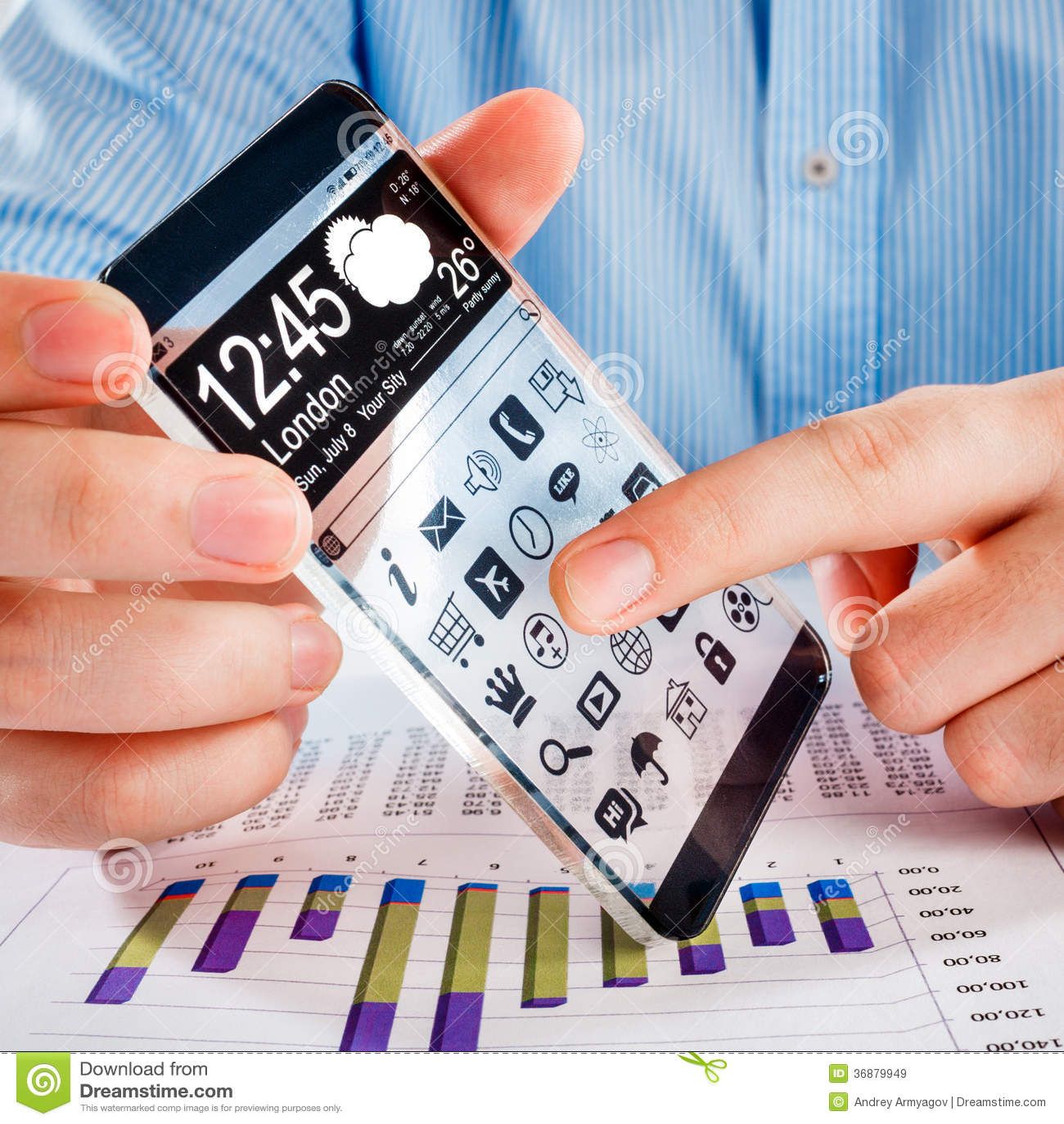 Download Smartphone Con Lo Schermo Trasparente In Mani Umane. Illustrazione di Stock - Illustrazione di futuristico, visualizzazione: 36879949