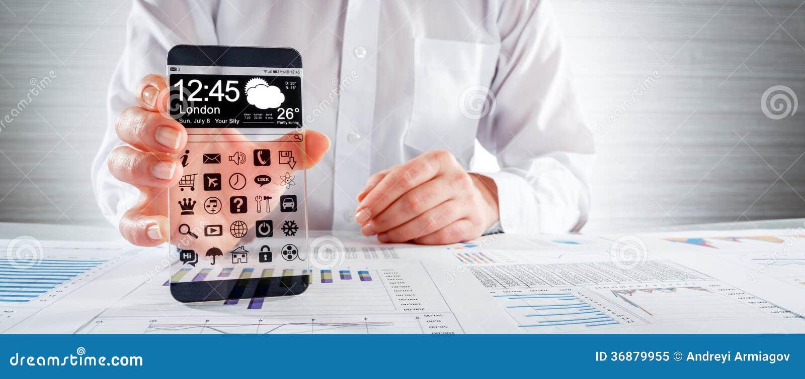 Download Smartphone Con Lo Schermo Trasparente In Mani Umane. Illustrazione di Stock - Illustrazione di concetto, ufficio: 36879955