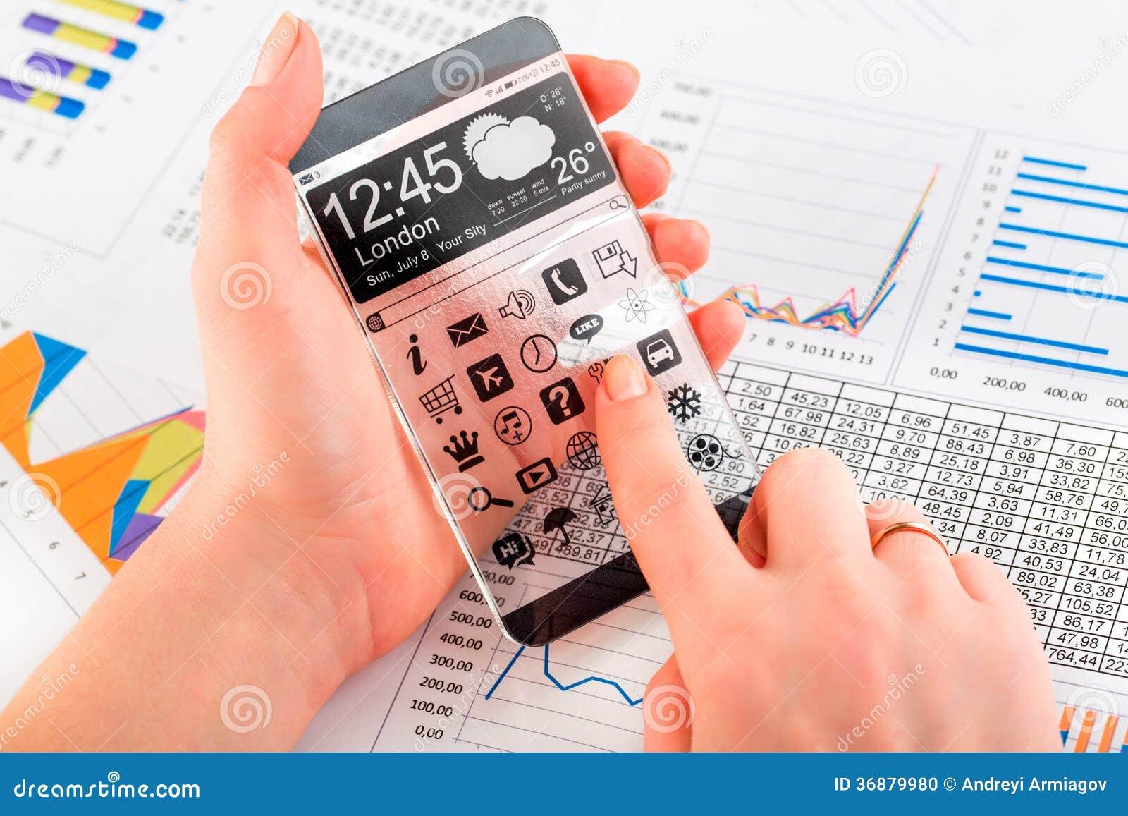Download Smartphone Con Lo Schermo Trasparente In Mani Umane. Illustrazione di Stock - Illustrazione di icone, innovazione: 36879980