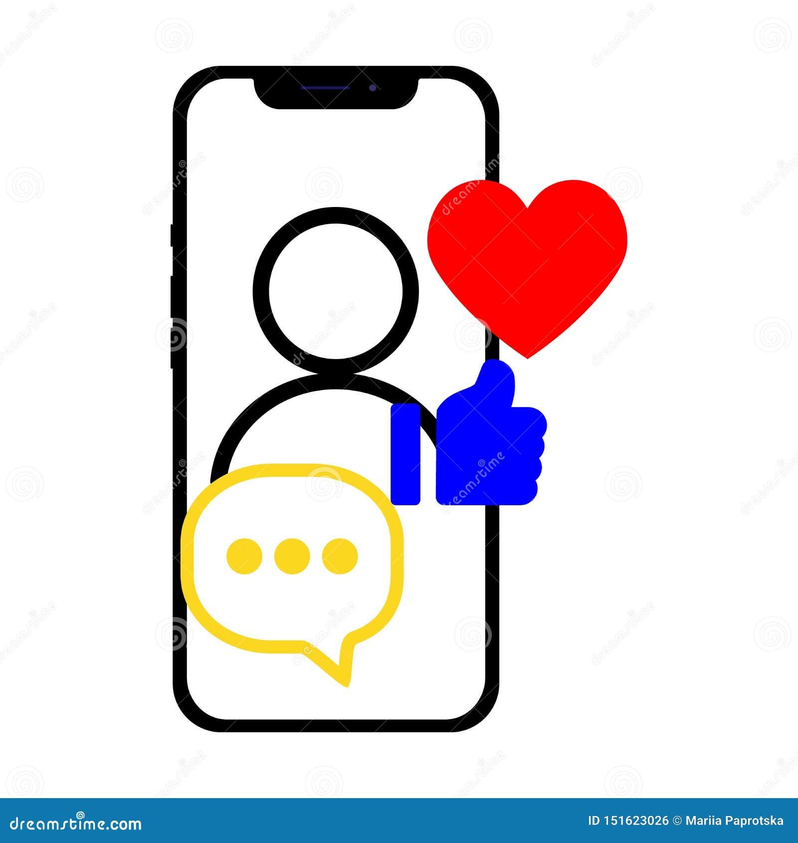 Smartphone con medios sociales relacionó iconos sobre la pantalla Ejemplo plano para el sitio web, app, bandera del vector