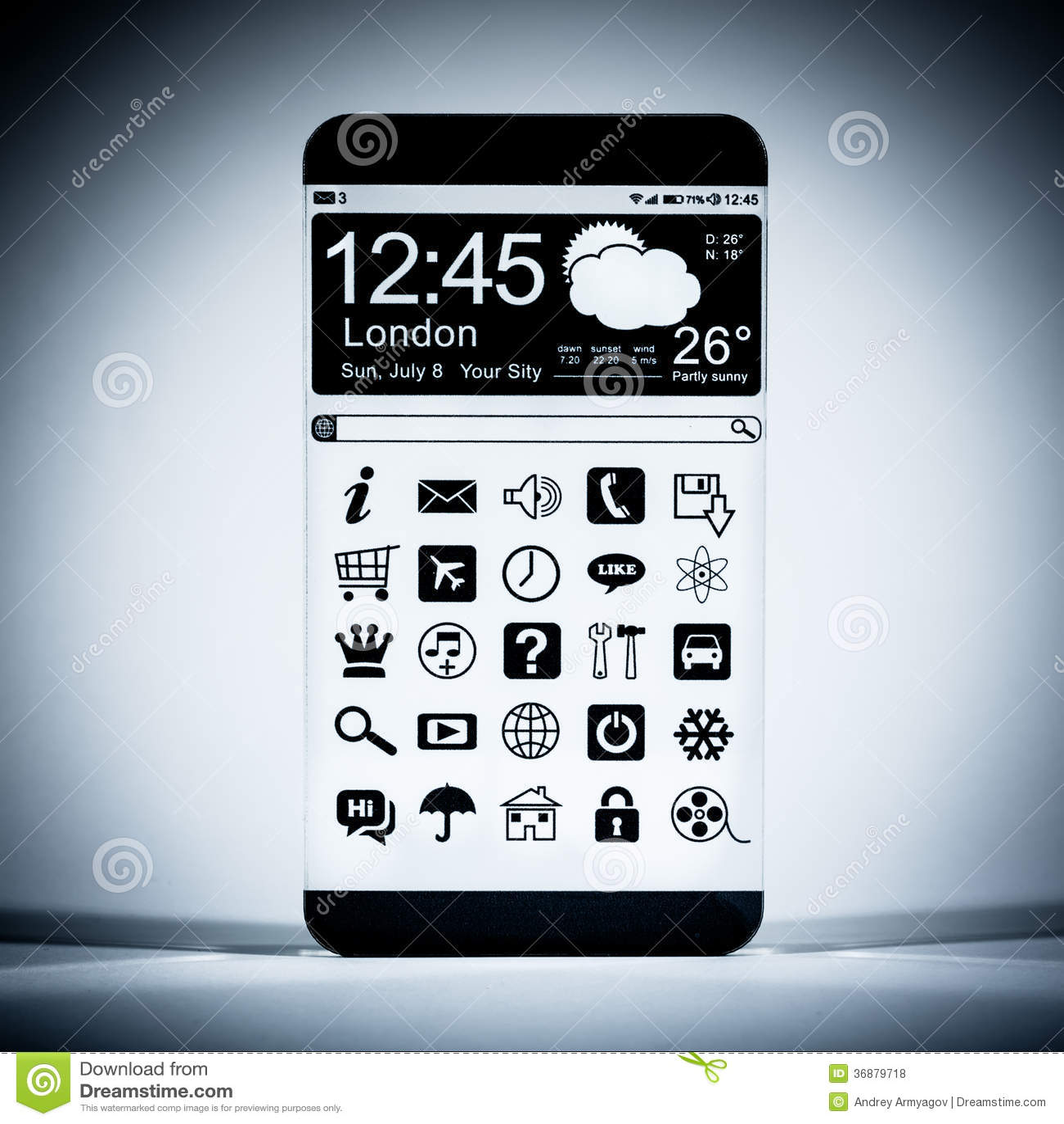 Download Smartphone Con Un'esposizione Trasparente. Illustrazione di Stock - Illustrazione di estratto, comunicazione: 36879718