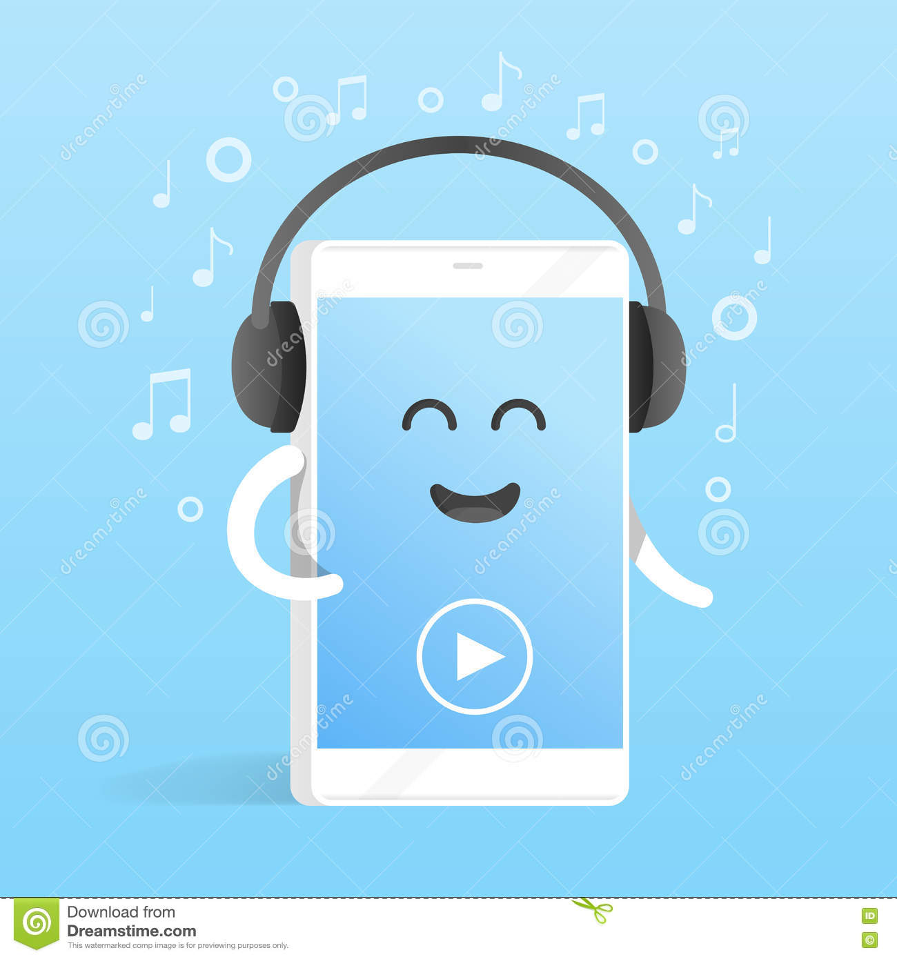 Smartphone Concept Of Listening To Music On Headphones Background Of Notes Cute Cartoon Character Phone With Hands Eyes And Stock Illustration Illustration Of Mascot Drawing 80208530