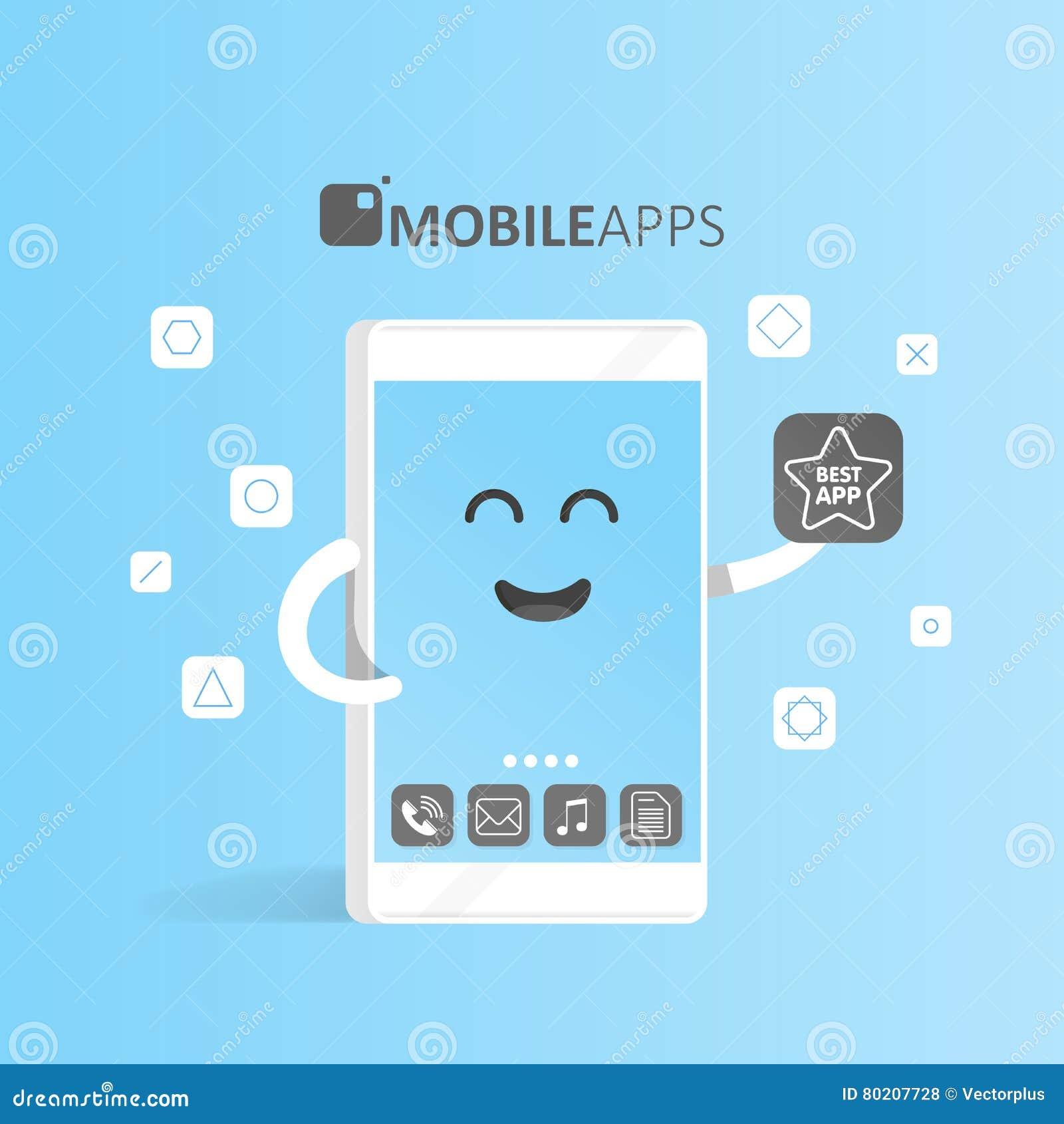 Smartphone-concept online app markt, aankoop, presentatie en selectie van toepassingen De leuke telefoon van het Beeldverhaalkara