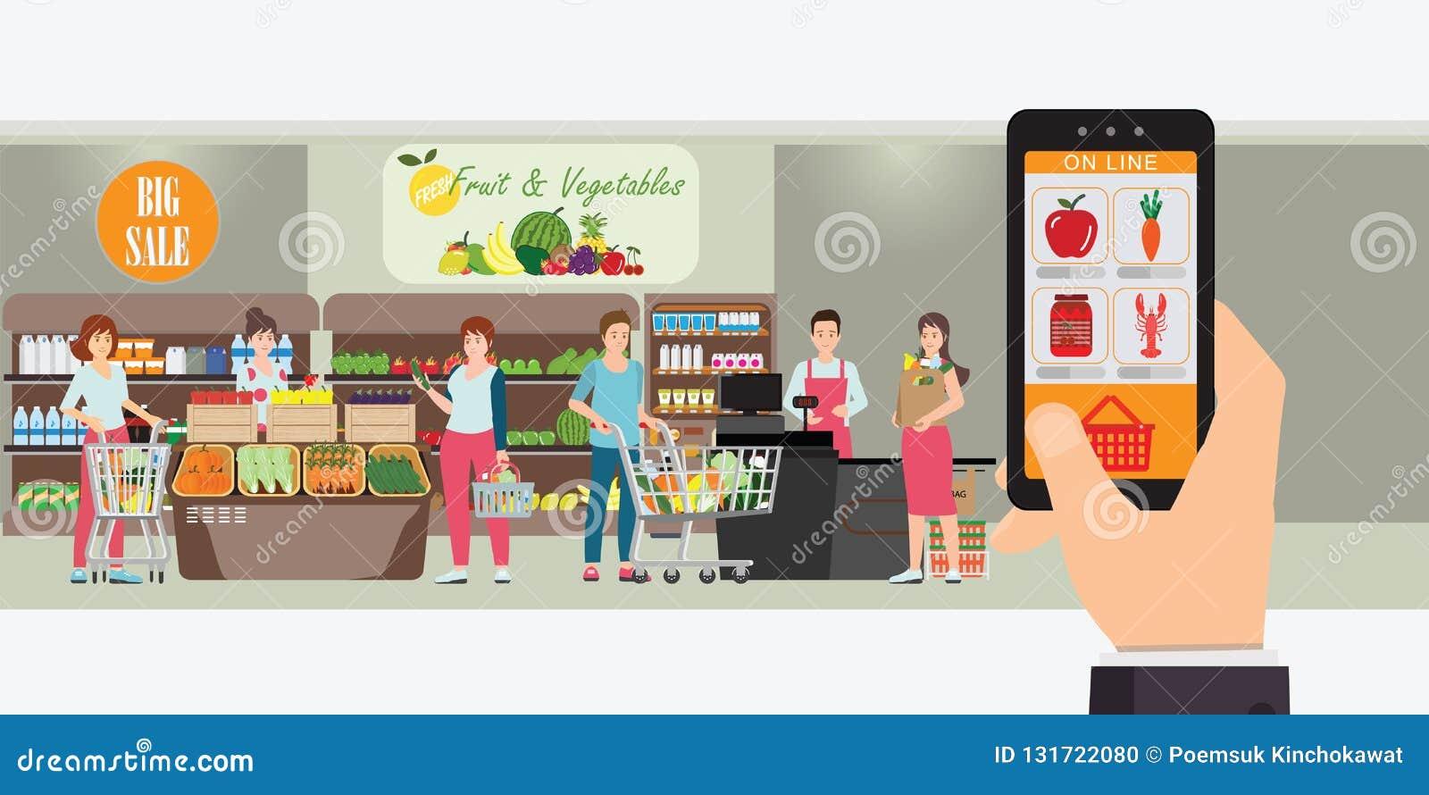 Smartphone da terra arrendada da mão com app de compra, interior interior da loja, ordem do Internet da entrega do mantimento, co