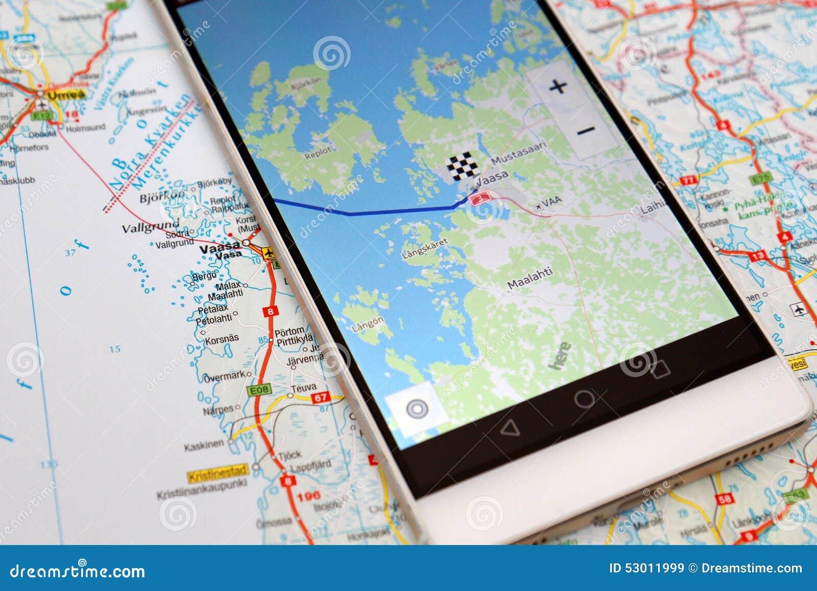 smartphone de carte de navigation de gps image stock image du syst me carte 53011999. Black Bedroom Furniture Sets. Home Design Ideas
