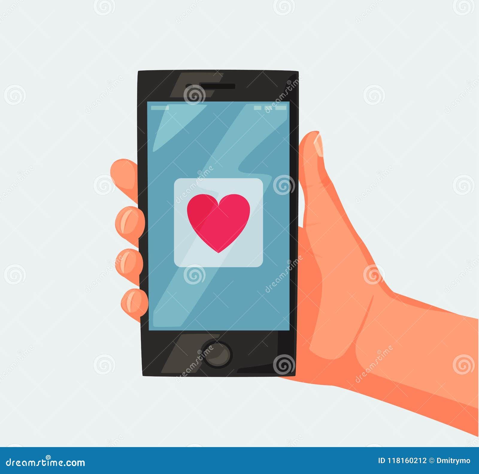 Smartphone De Fixation De Main écran Avec Le Coeur
