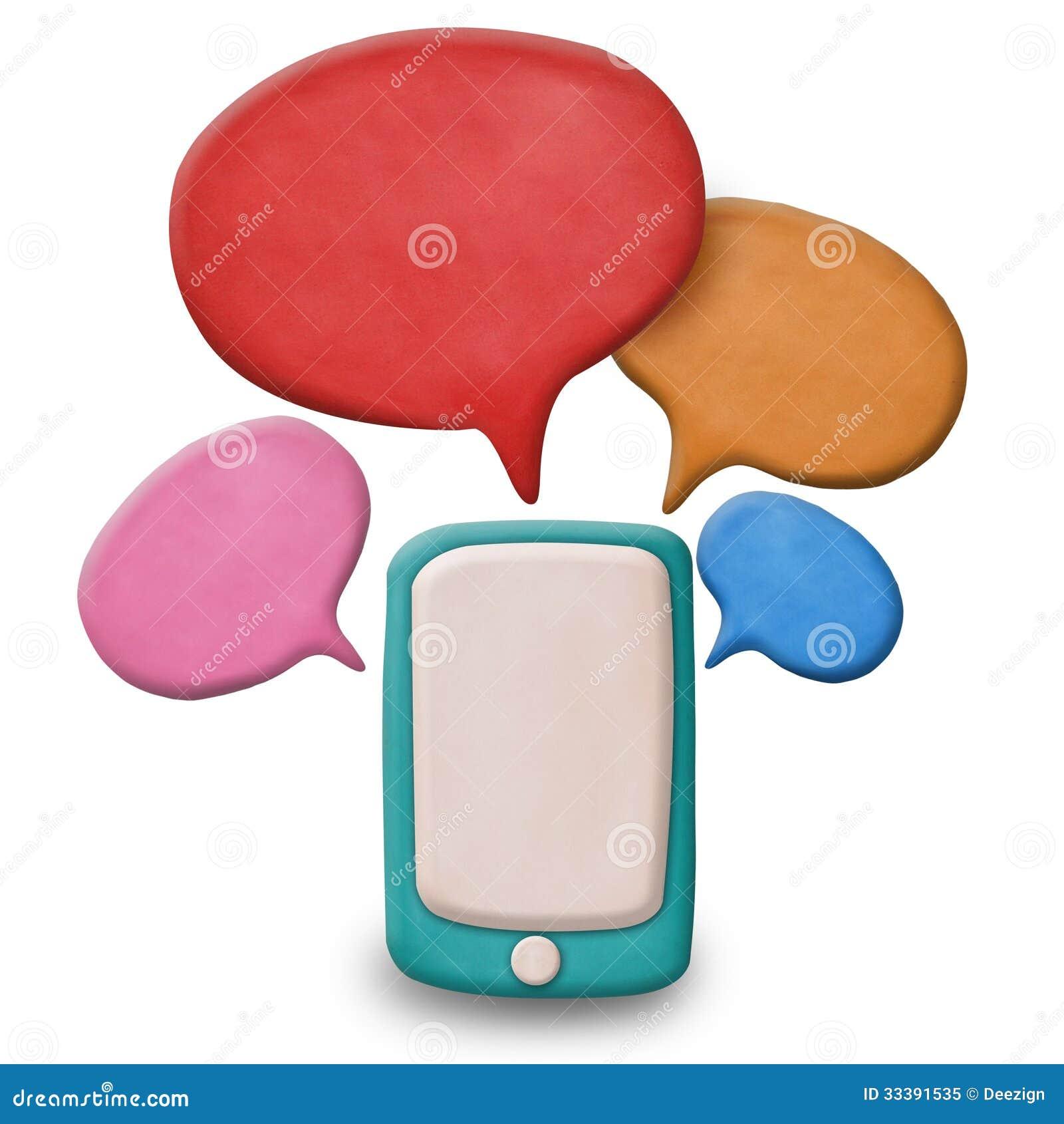 Smartphone de la pantalla táctil de la plastilina con discurso