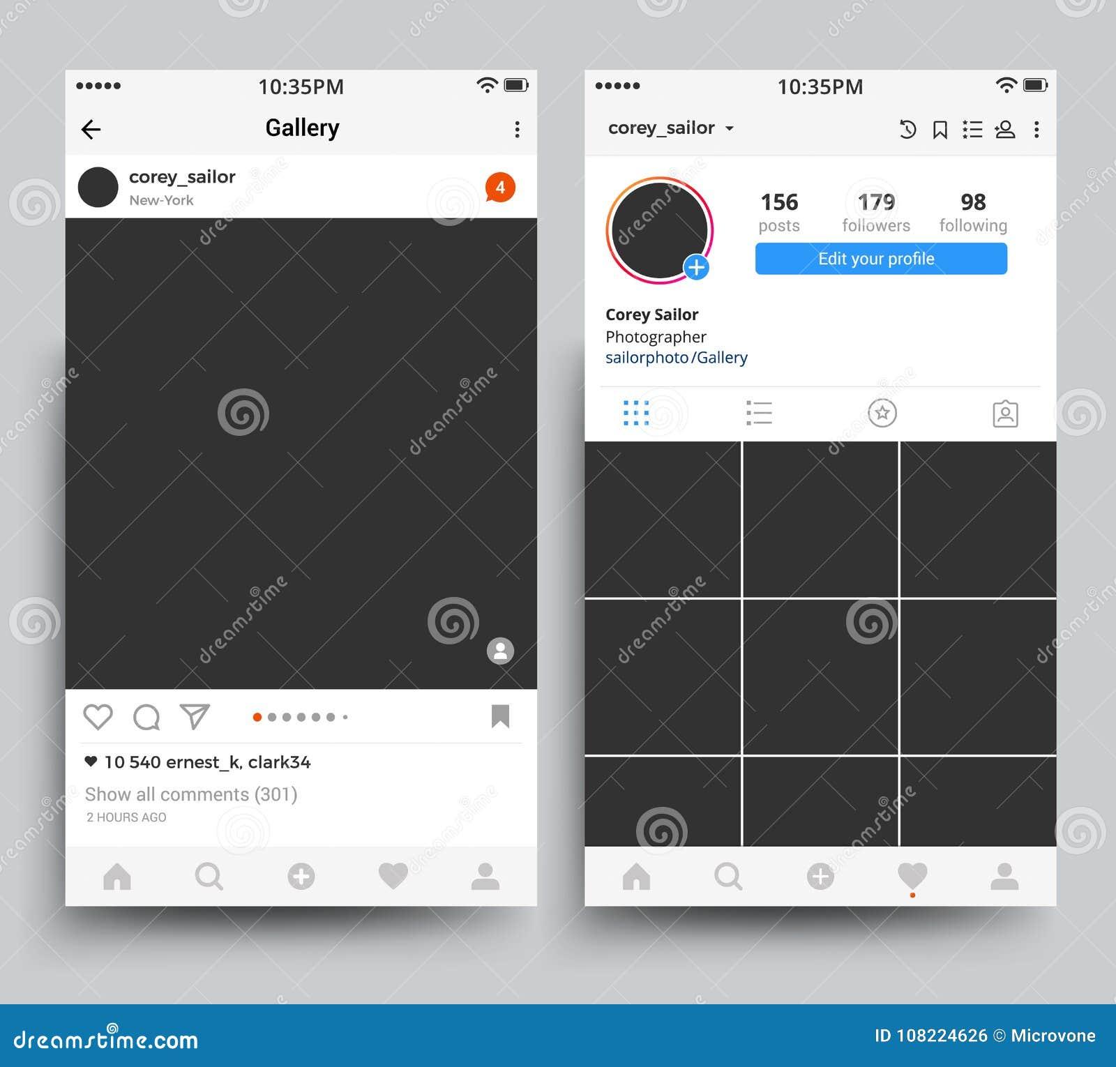 Smartphone-de vertoning van fotokaders van mobiele die toepassing door instagram vectormalplaatje wordt geïnspireerd