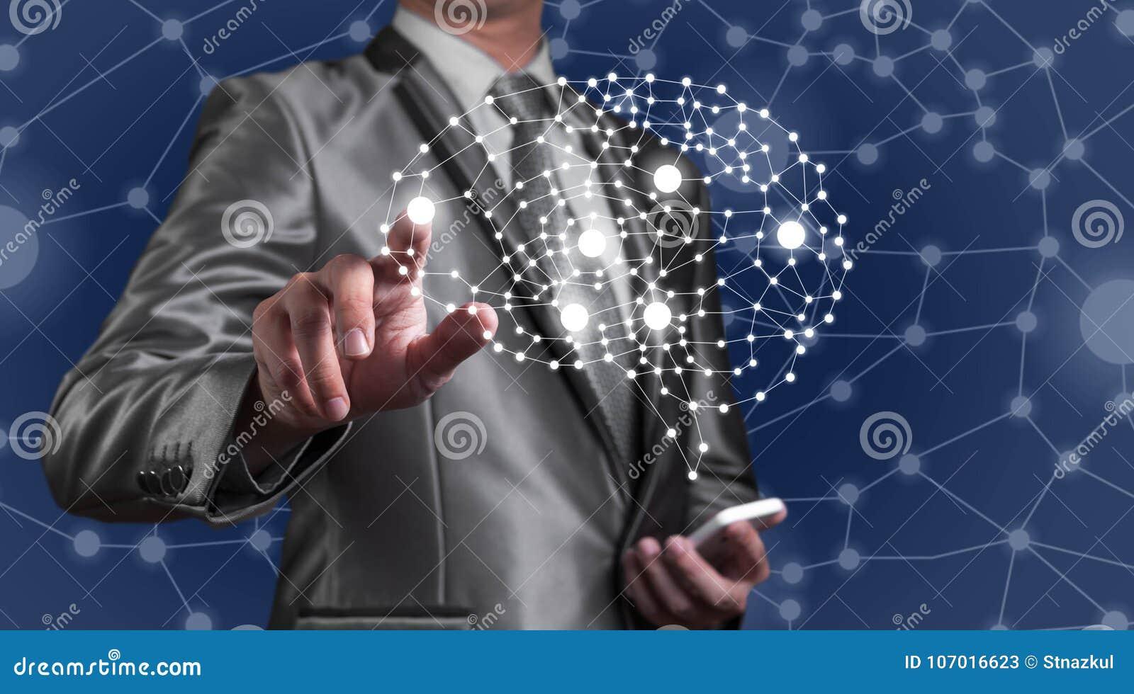 Smartphone del uso del hombre de negocios con la tecnología del AI, inteli artificial