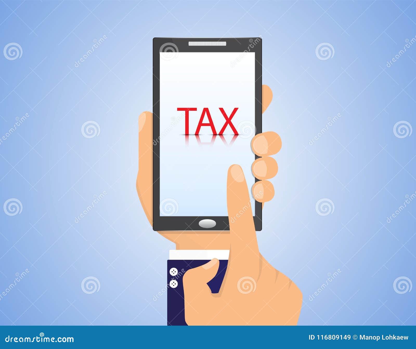 Smartphone della tenuta della mano del ` s dell uomo di affari con la tassa del testo, concetto di affari