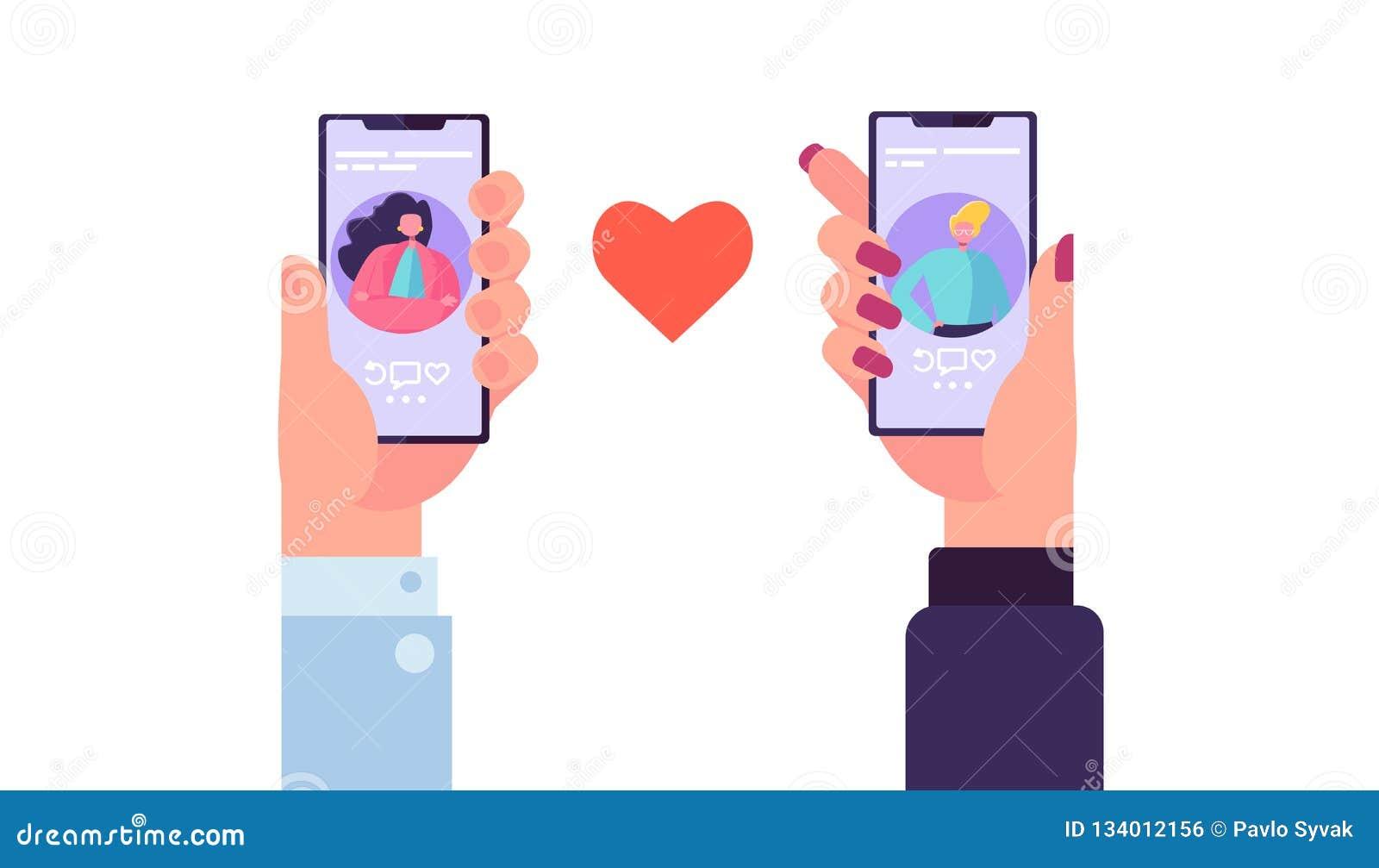Smartphone die Toepassing dateren om Liefde te vinden Handenholding Mobiel met Man en Vrouwenprofiel Romaanse App verhoudingen