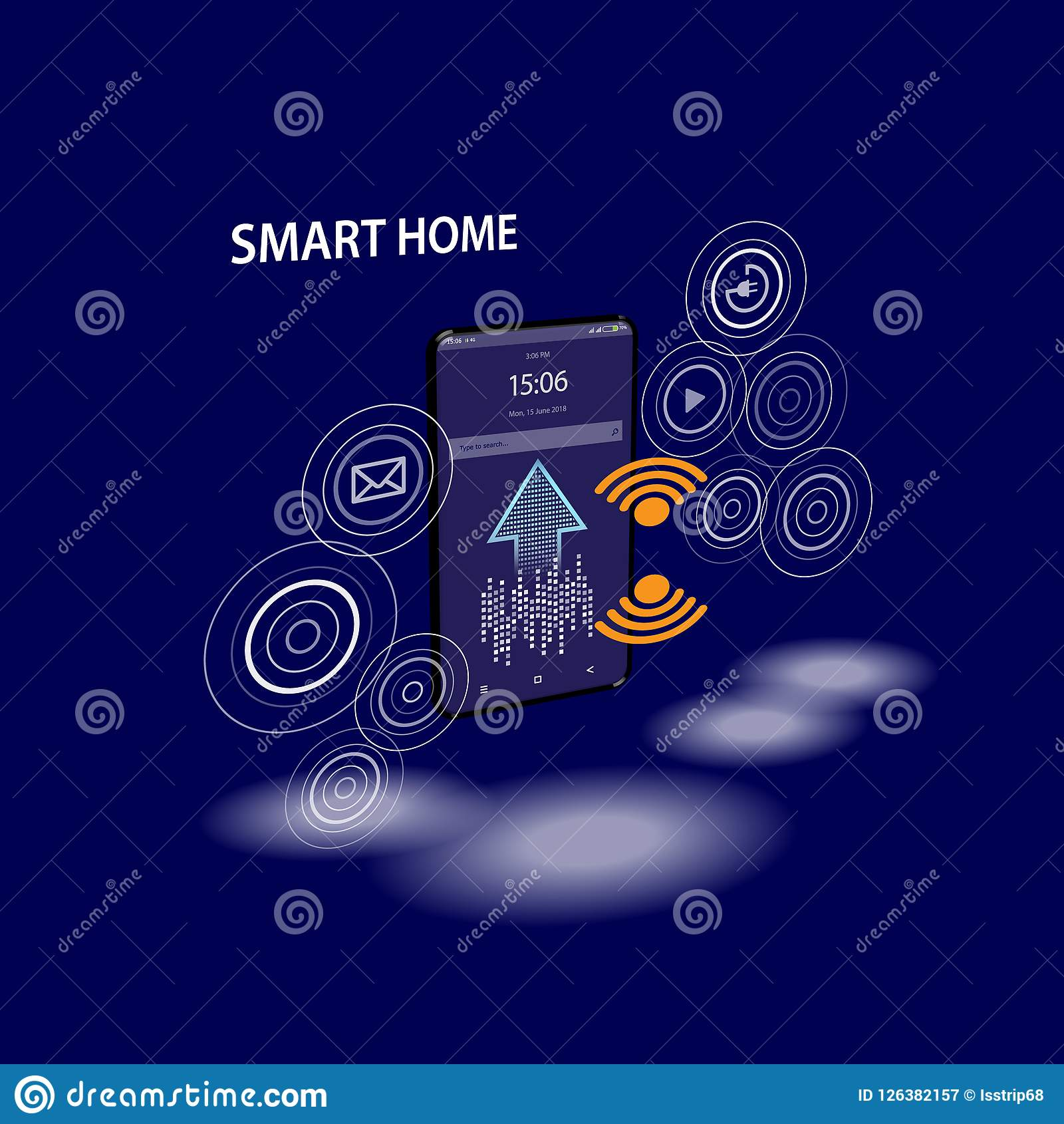 Smartphone with digital logo smart home stand at iot icons. Smart phone controls devices of smart home via wireless