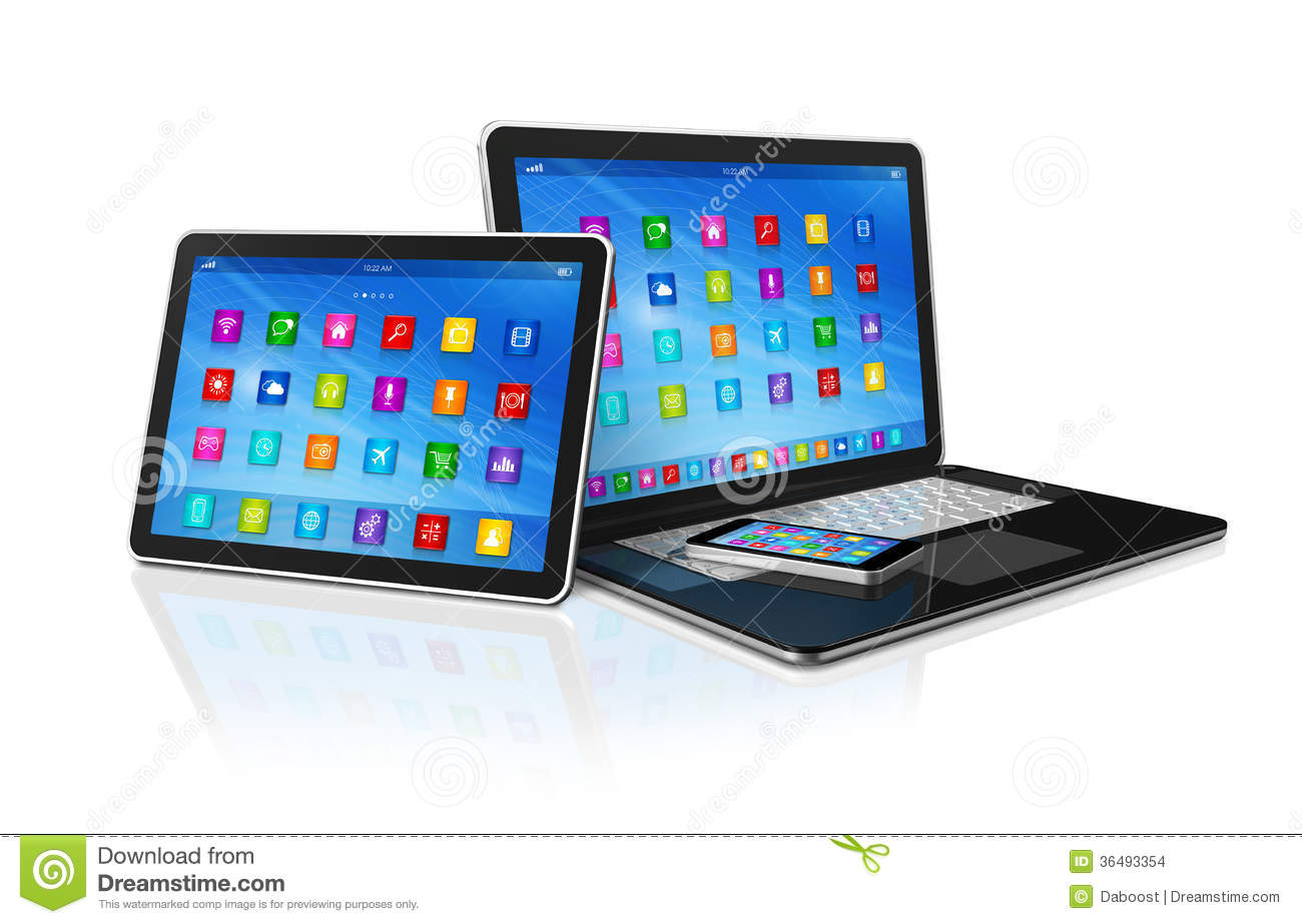 smartphone digital tablet computer and laptop stock images image 36493354. Black Bedroom Furniture Sets. Home Design Ideas