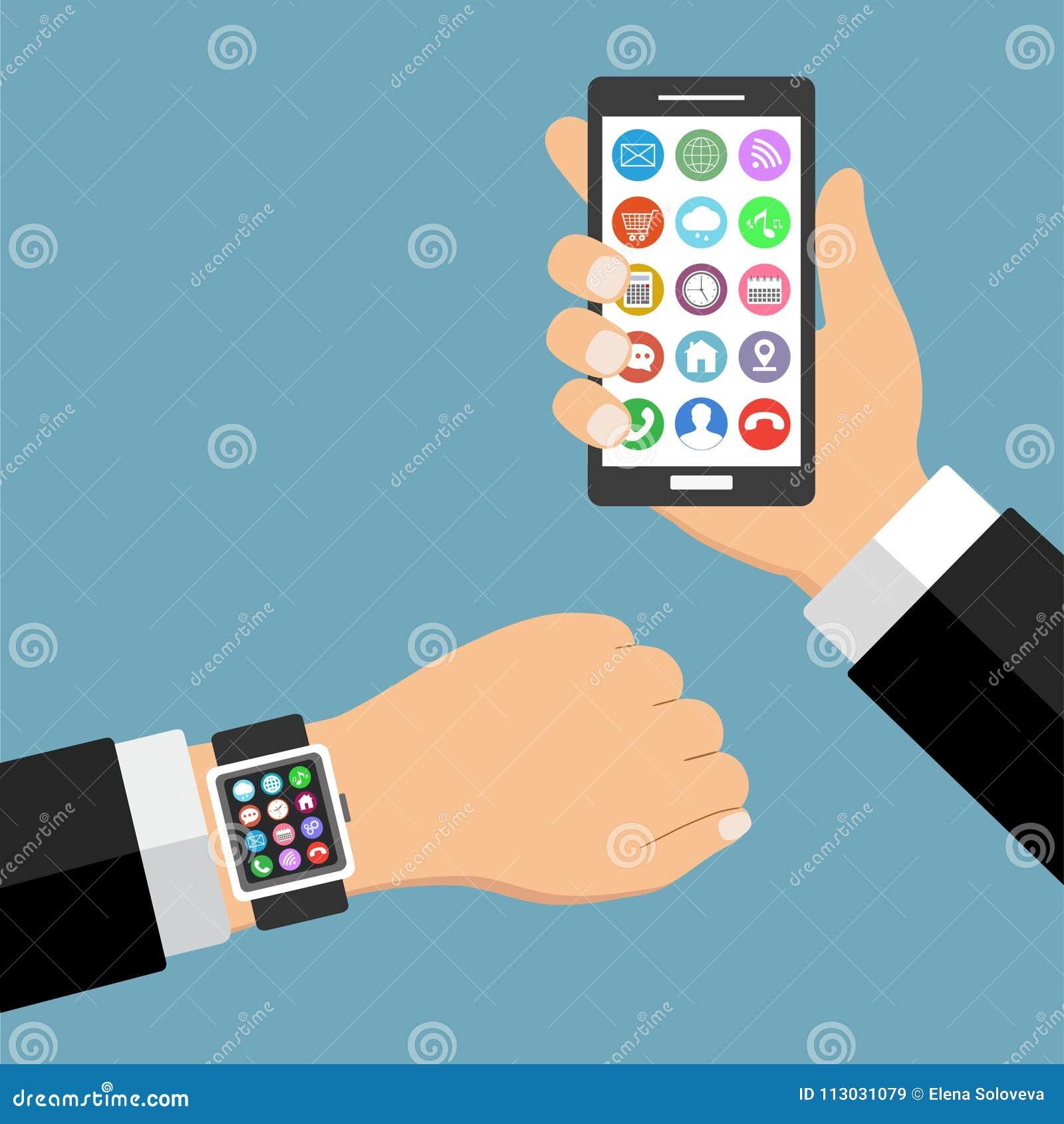 Smartphone elegante del reloj con los pulgares encima de usos de la mano y del teléfono móvil