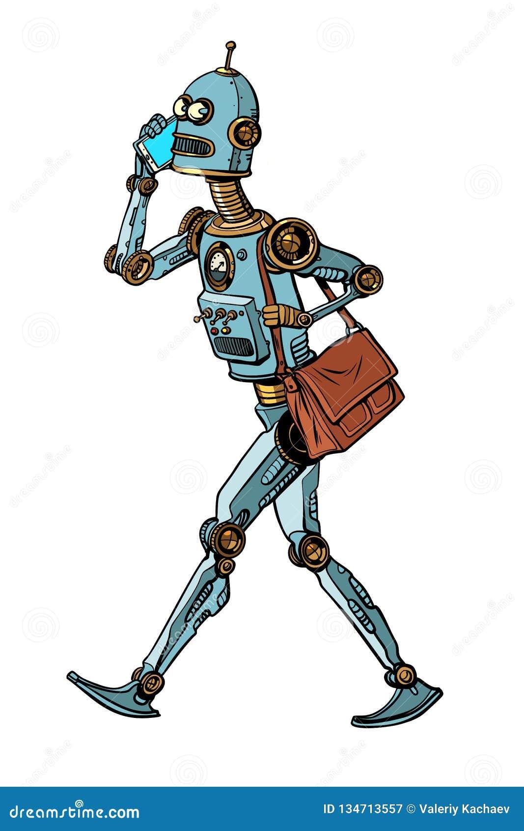Smartphone en robot, nieuwe technologie kunstmatige intelligentiesc