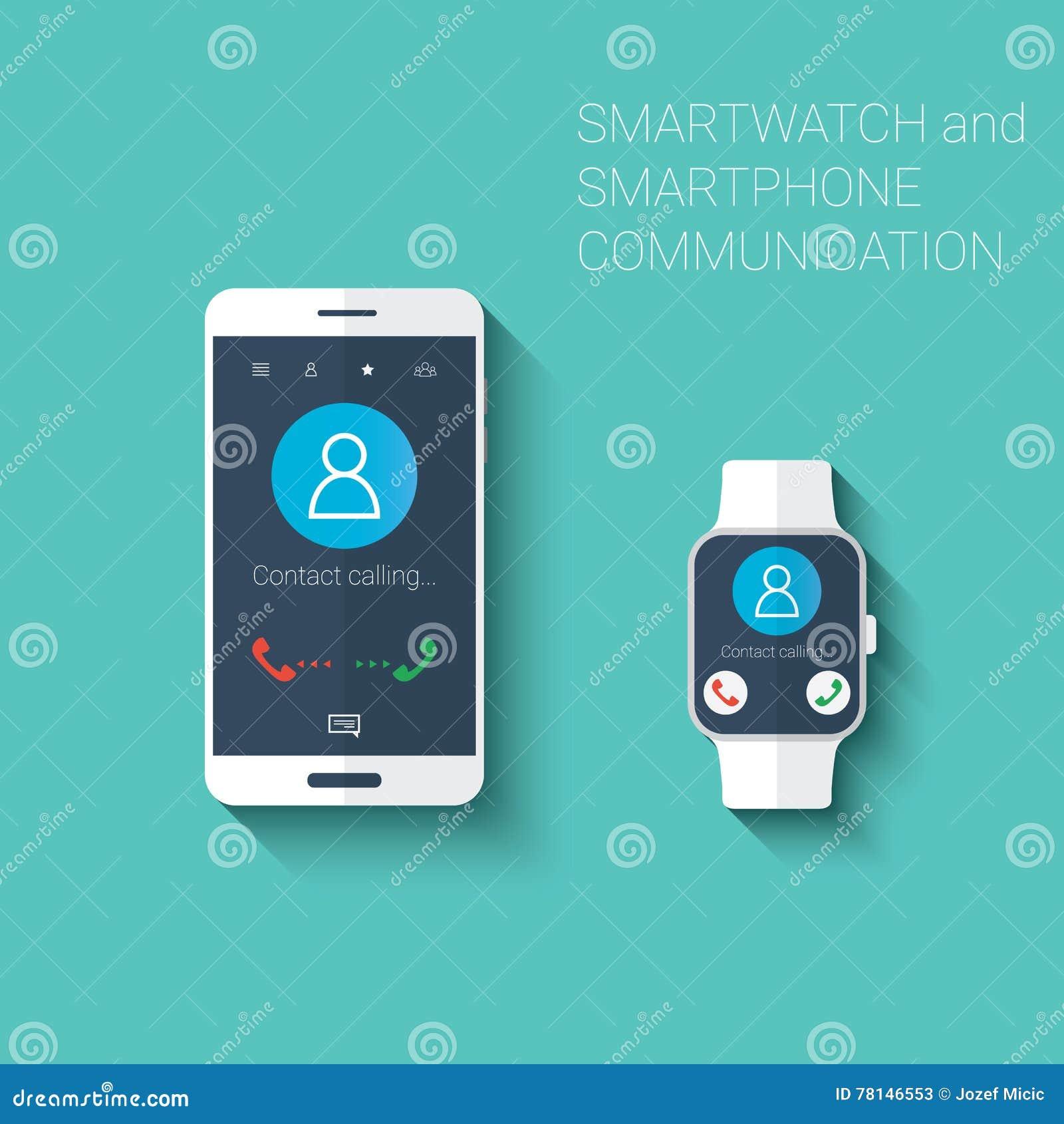 Smartphone et smartwatch appelle le kit d icônes d interface utilisateurs Concept portable de technologie dans la conception plat