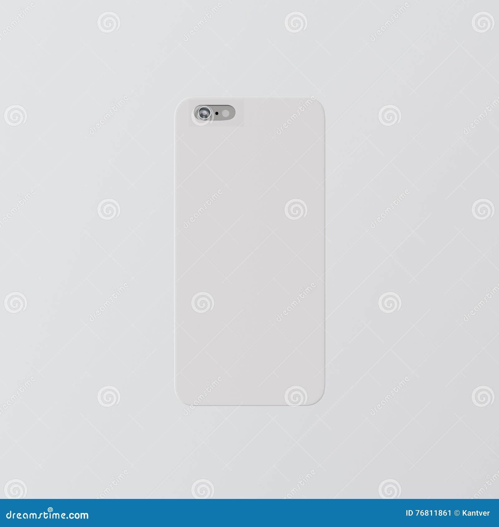 Smartphone för fall för telefon för räkning för tom vit ren mall för Closeup en plast- modell Generisk isolerad designmobilbaksid