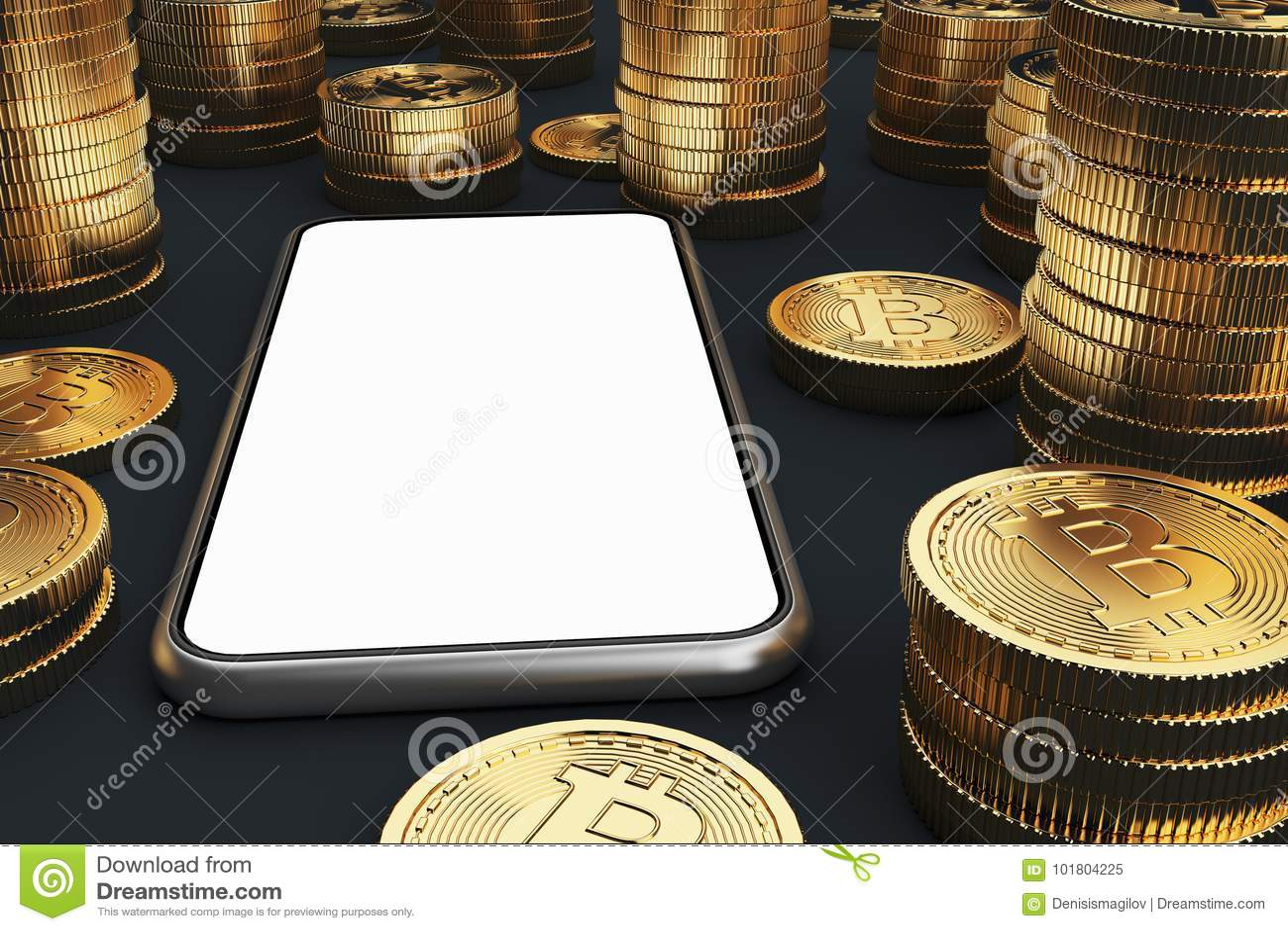 Smartphone för tom skärm, bitcoins