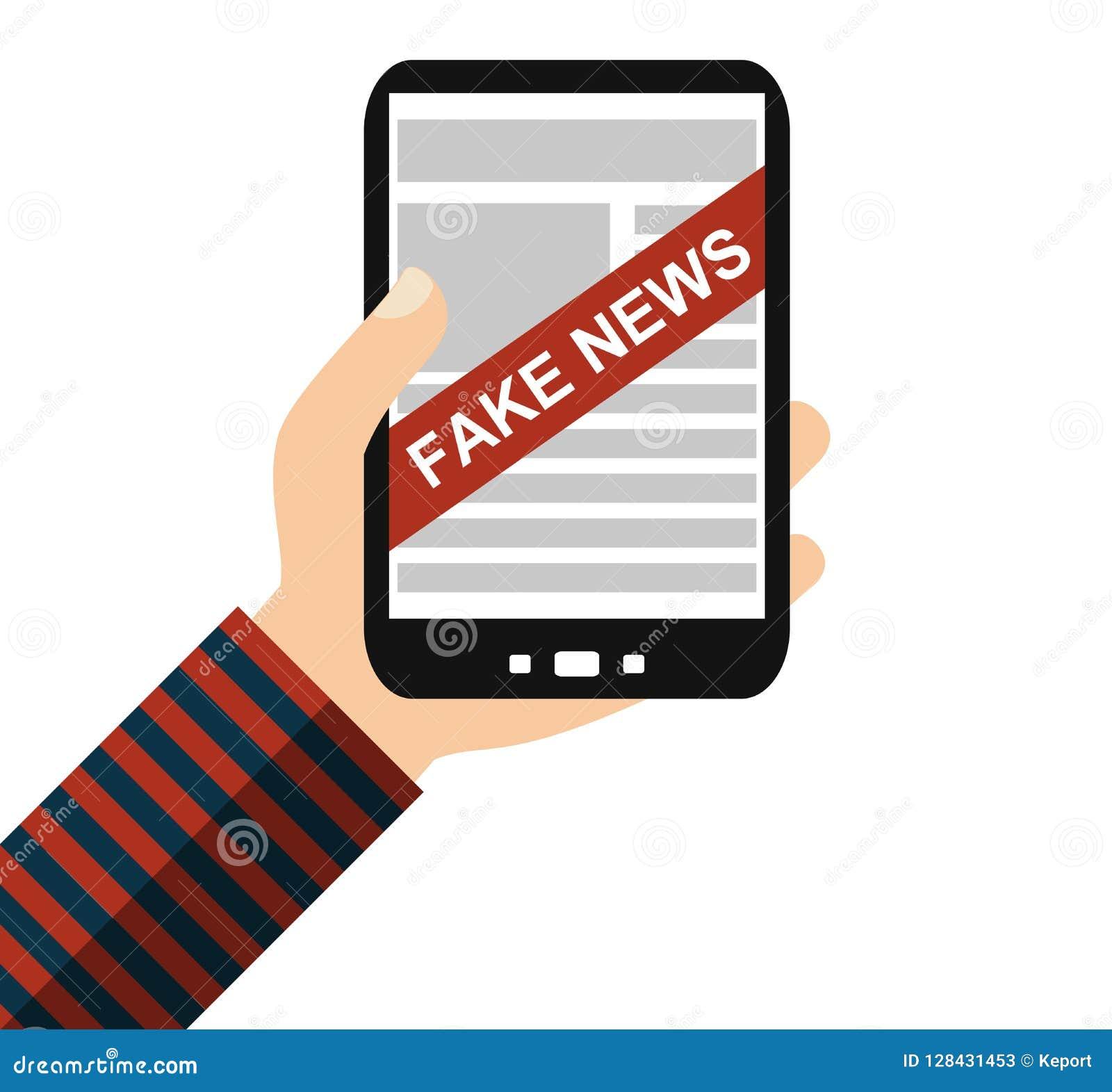 Smartphone: Gefälschte Nachrichten - flacher Entwurf