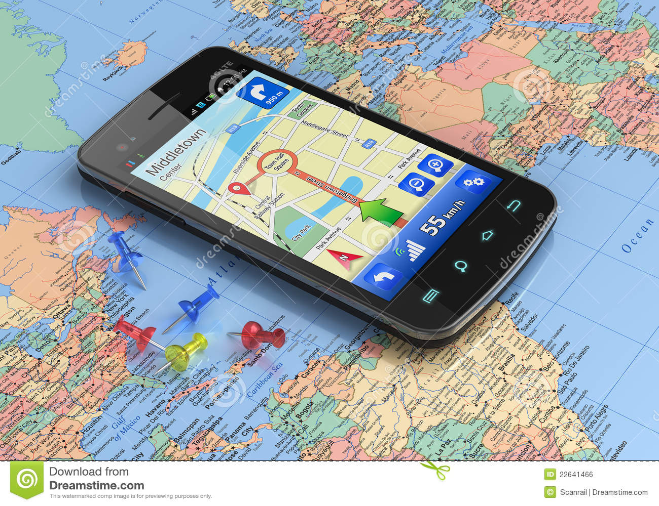 Smartphone with gps navigation on world map stock illustration smartphone with gps navigation on world map royalty free stock photo gumiabroncs Image collections