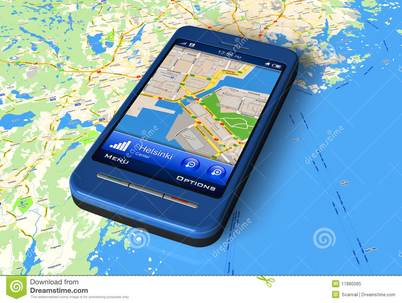 Smartphone With GPS Navigator On Map Royalty Free Stock ...