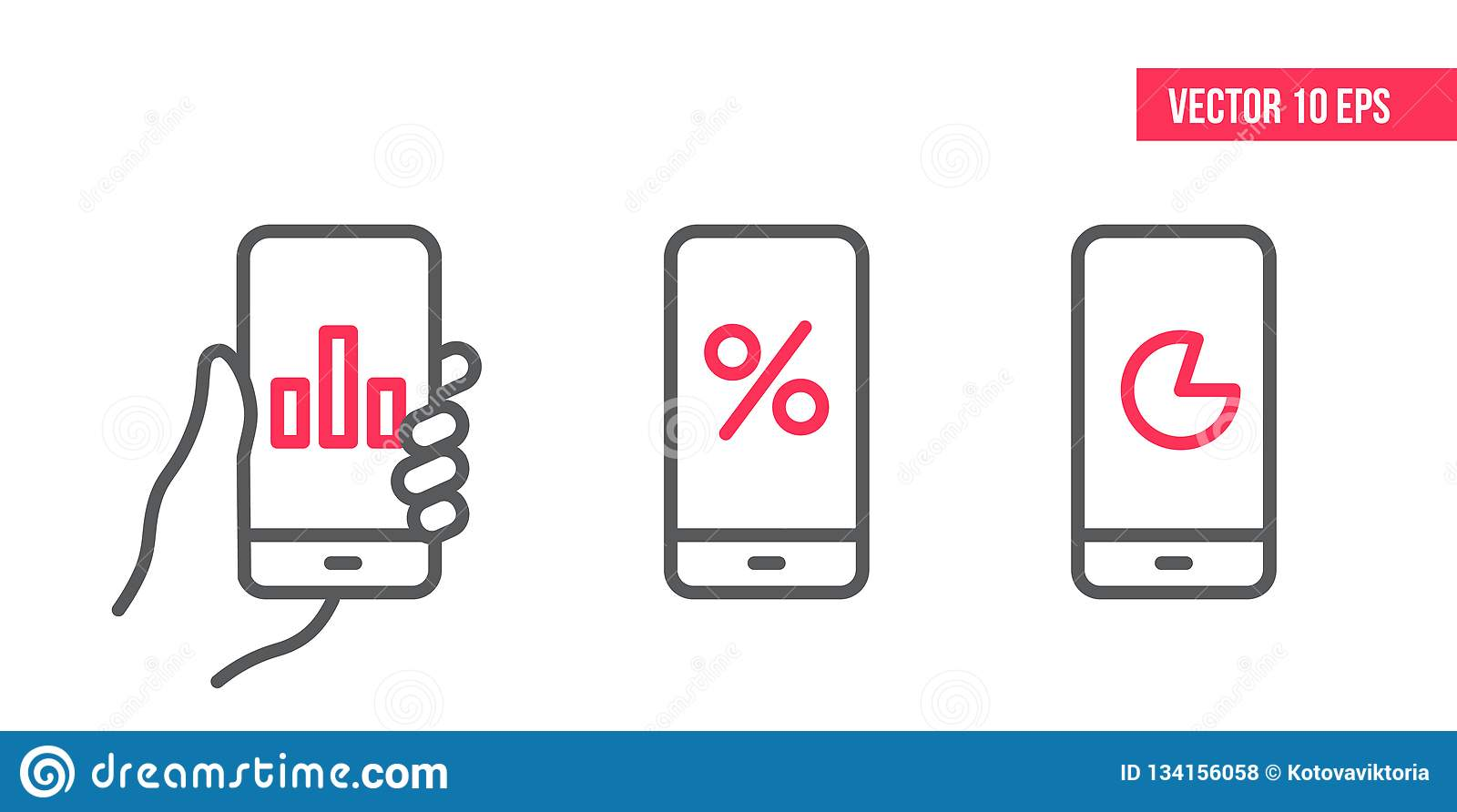 Smartphone with graph Icon, circle chart vector on screen. Vector design Element illustration, line icons. mobile in hand