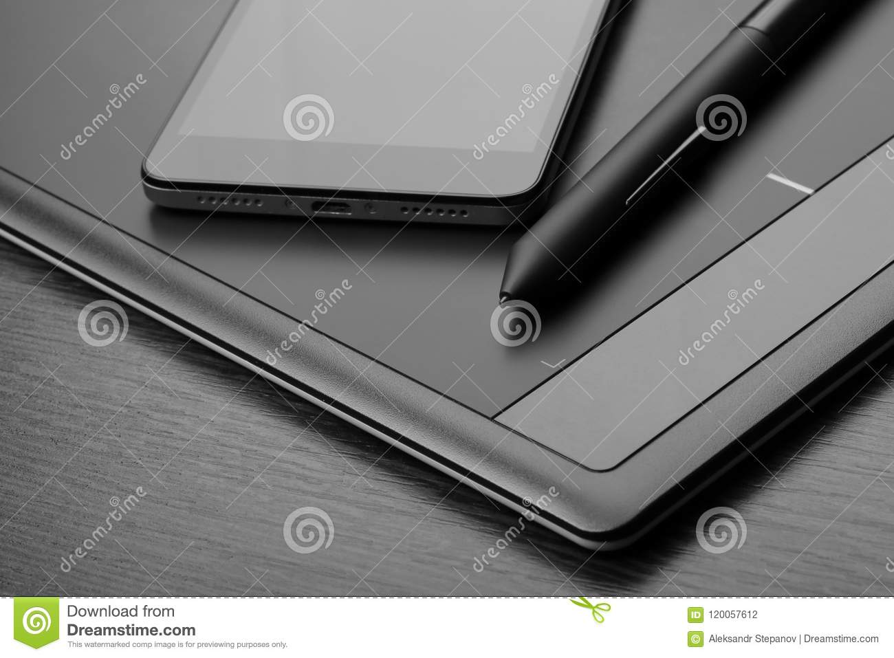 smartphone and graphic tablet also known as a digitizer or digital