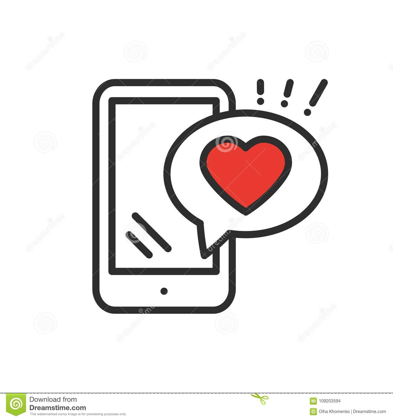 Smartphone with heart emoji message on screen line icon love smartphone with heart emoji message on screen line icon love confession like sign and symbol love relationship holiday biocorpaavc
