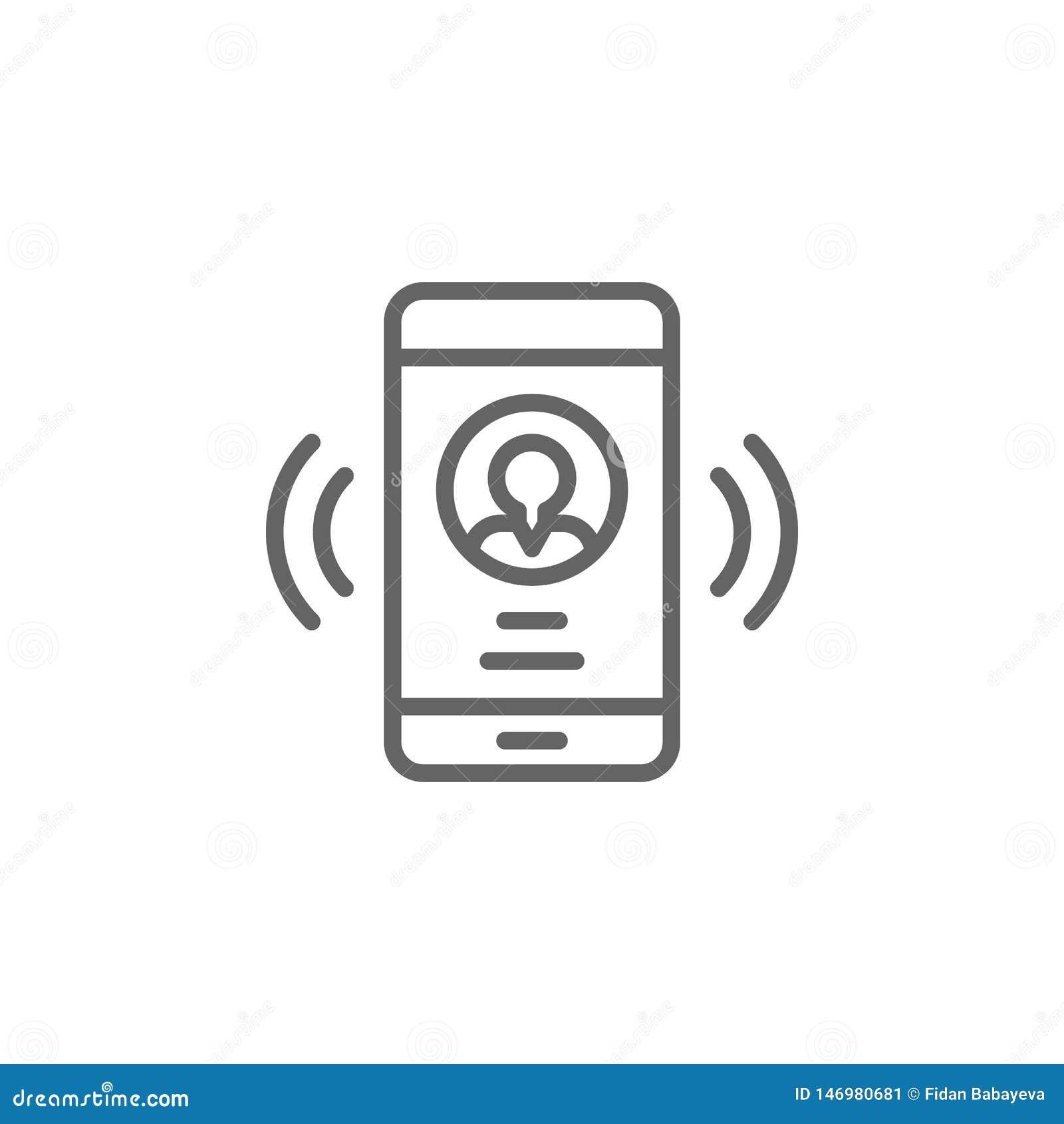 Smartphone-het overzichtspictogram van de vraagmens Elementen van het pictogram van de Bedrijfsillustratielijn De tekens en de sy
