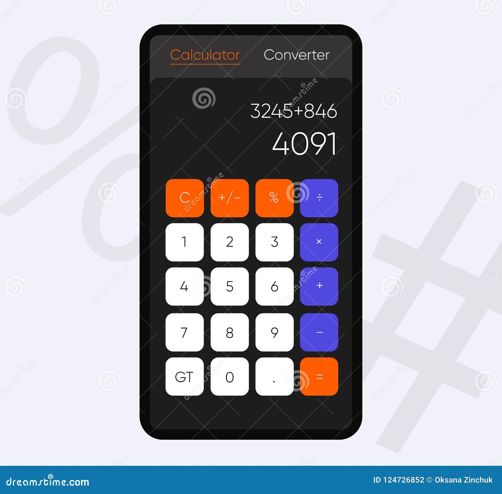Smartphone-het scherm met Calculator App, Vector realistische moderne illustratie Materiële stijl Vlakke stijltoepassing