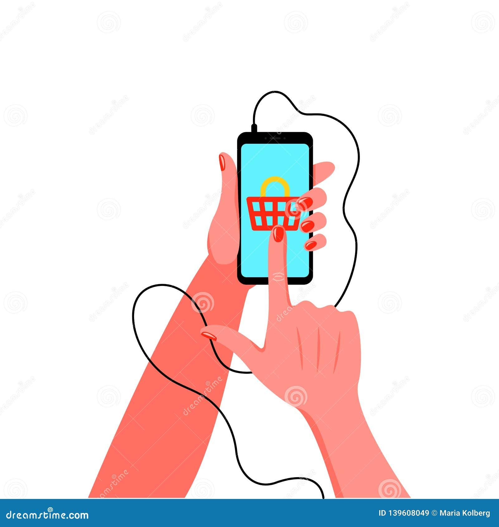 Smartphone i kvinnlig hand med manikyr också vektor för coreldrawillustration