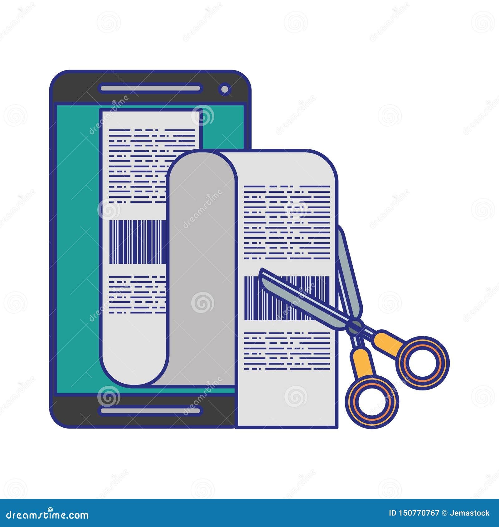 Smartphone i nożyce ciie rachunek odosobnione niebieskie linie