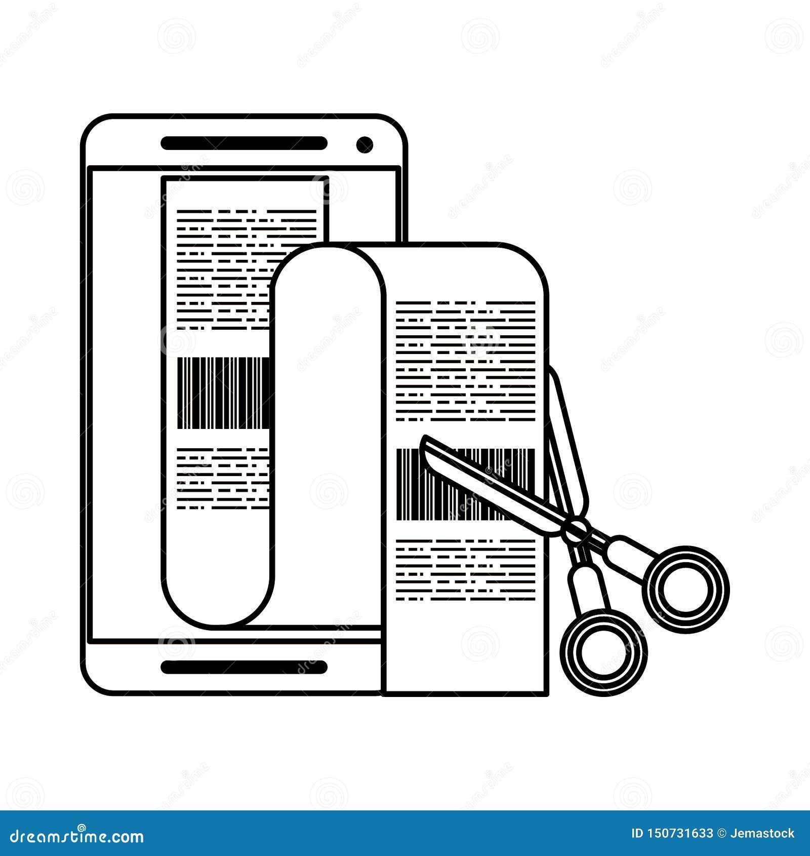 Smartphone i nożyce ciie rachunki odizolowywających w czarny i biały