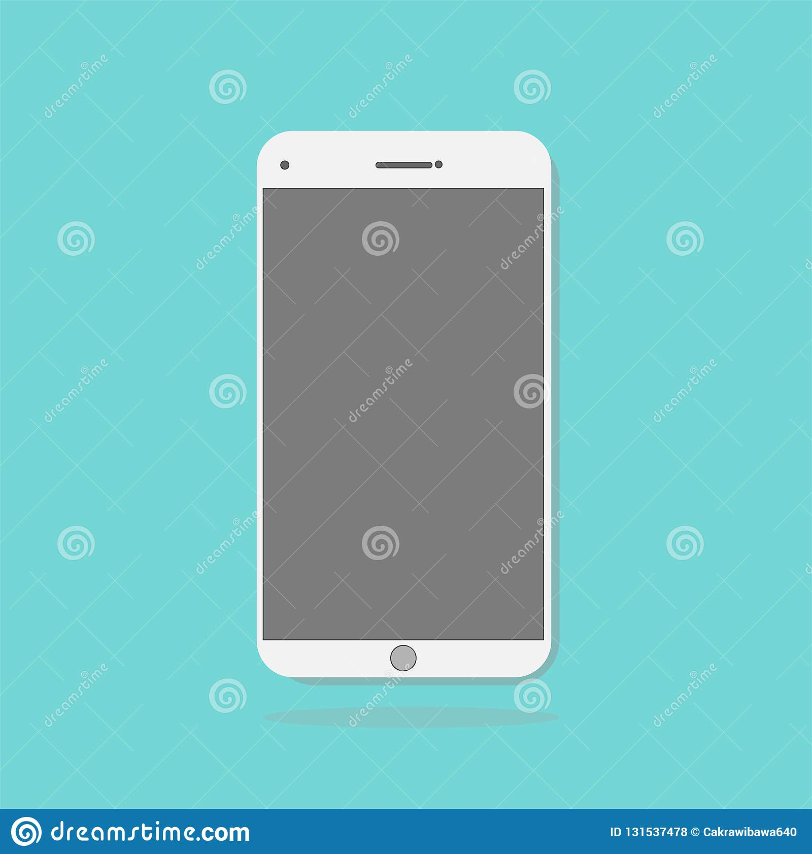 Smartphone Icon In The Style Flat Design On The Blue ...