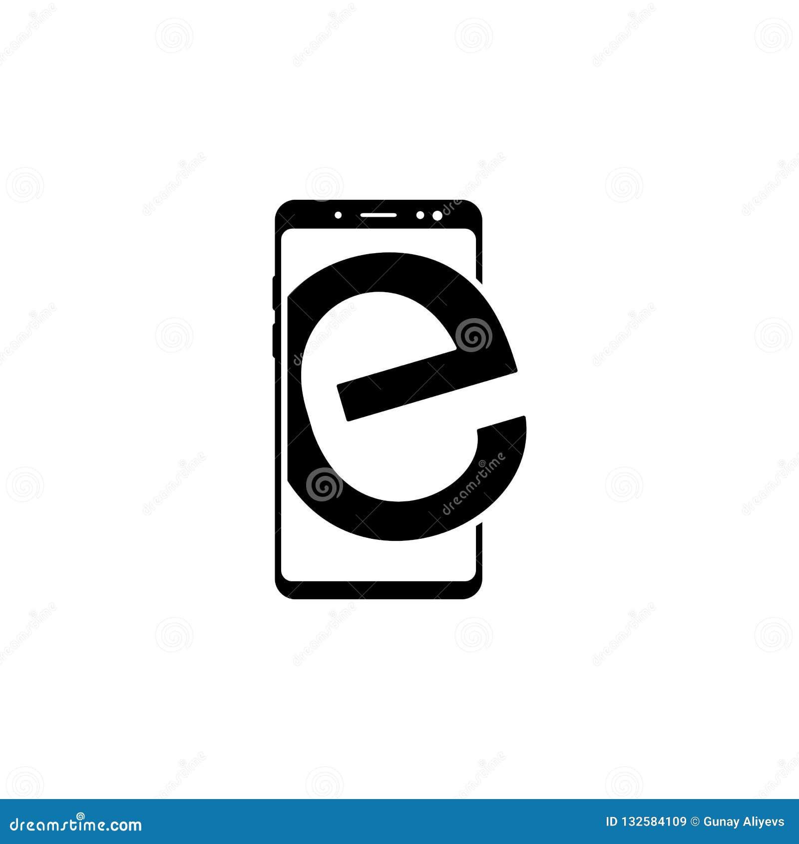 Smartphone, icono del vector del navegador de Internet para las páginas web y diseño plano minimalistic móvil