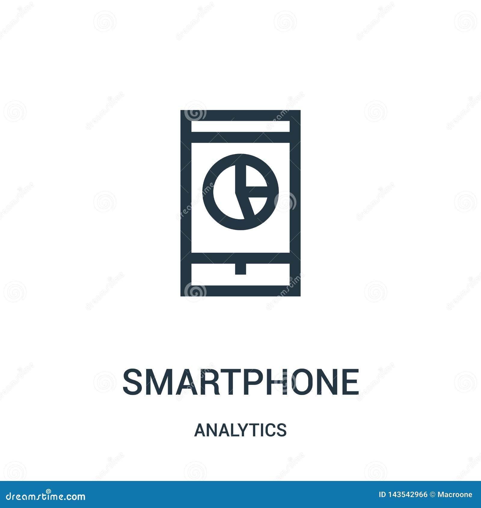 Smartphone ikony wektor od analityka inkasowych Cienka kreskowa smartphone konturu ikony wektoru ilustracja