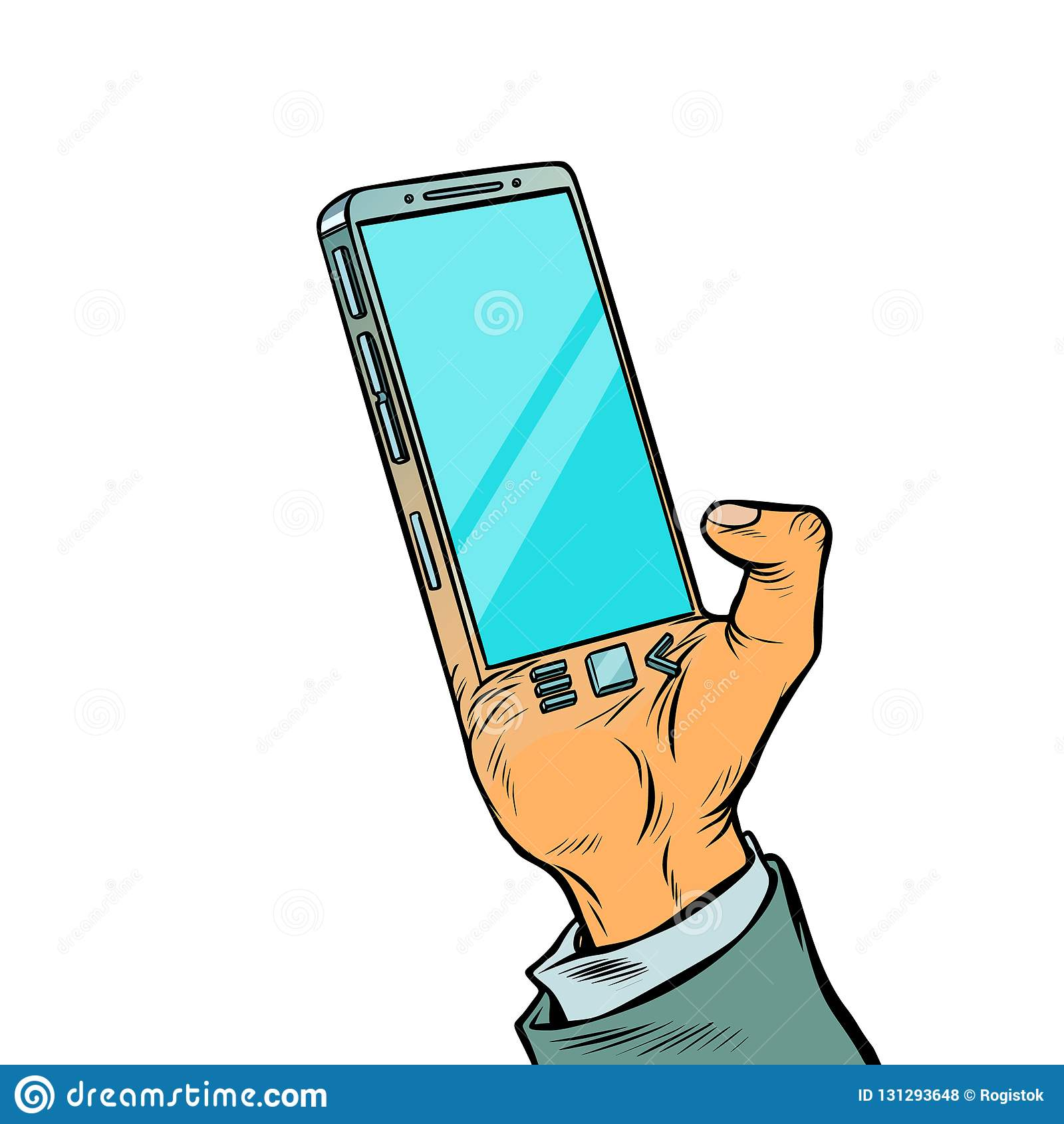 Smartphone Is Implanted In The Human Body  Biohacking Stock Vector