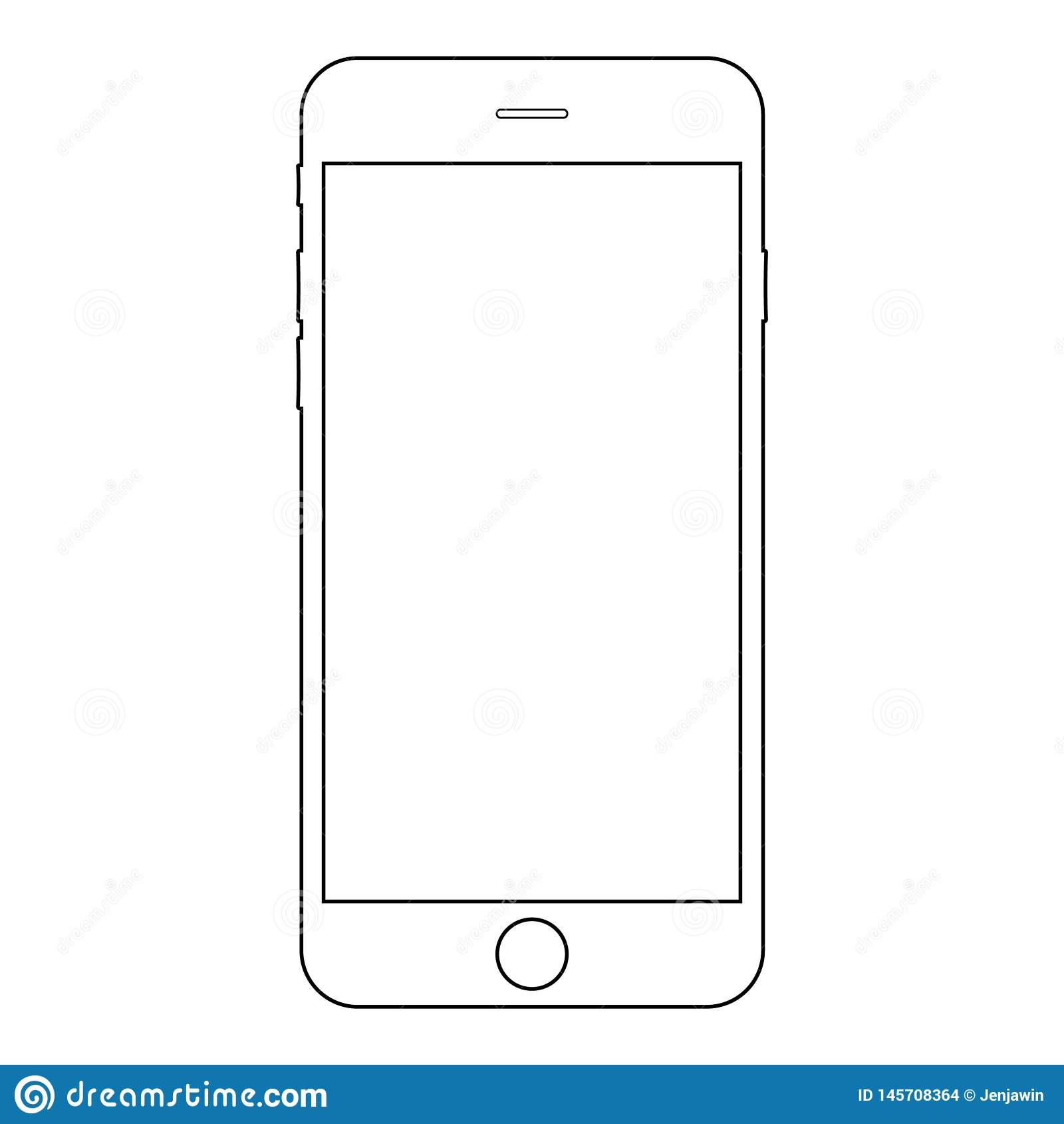 Smartphone iphone outline vector eps10.  Iphone mobile phone icon. Smartphone outline vector eps10