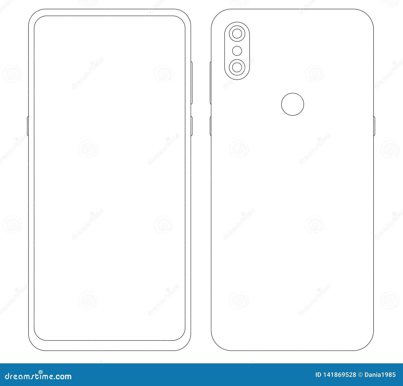 Display Smartphones Template Xiaomi Mi Mix 3 Stock Vector