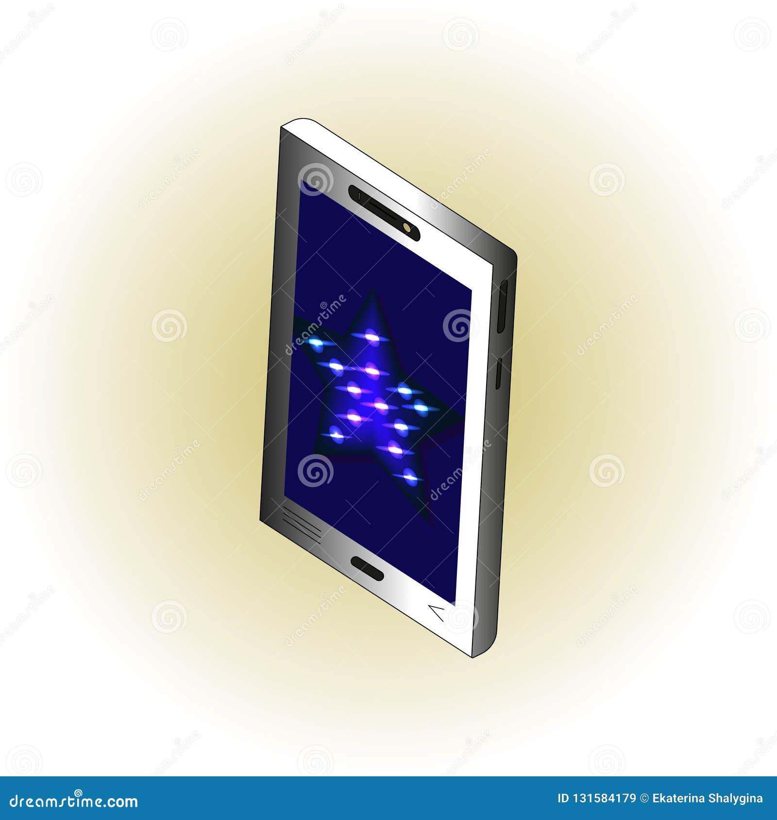 Smartphone isométrico con la estrella de neón azul en la pantalla