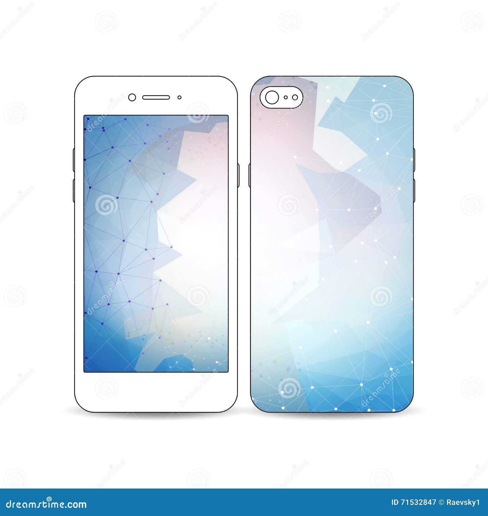 0d8fc688617 Smartphone móvil con un ejemplo del diseño de la pantalla y de la cubierta  aislado en el fondo blanco Fondo poligonal colorido abstracto, textura  elegante ...